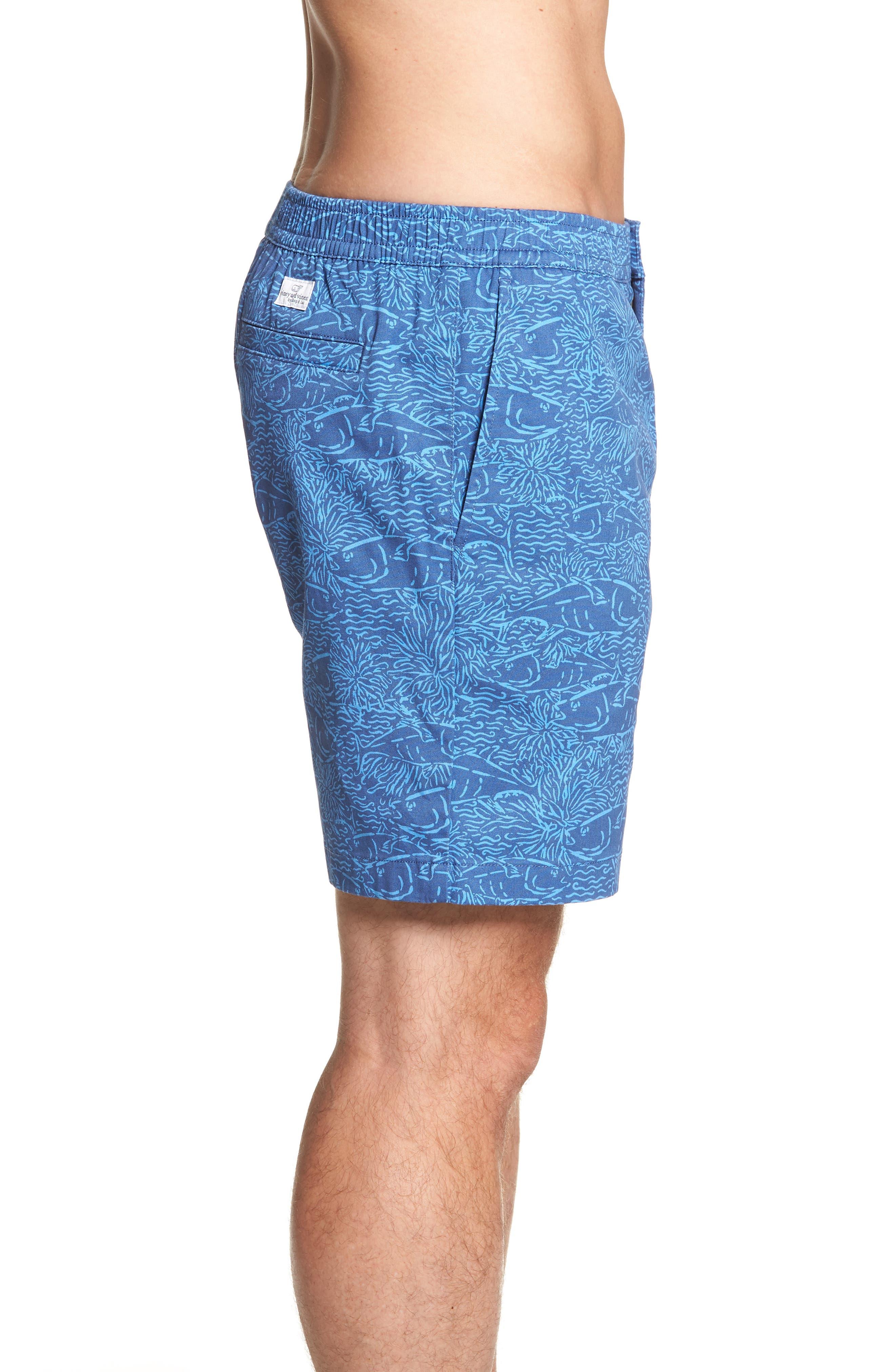 Jetty Print Stretch Cotton Shorts,                             Alternate thumbnail 3, color,                             461