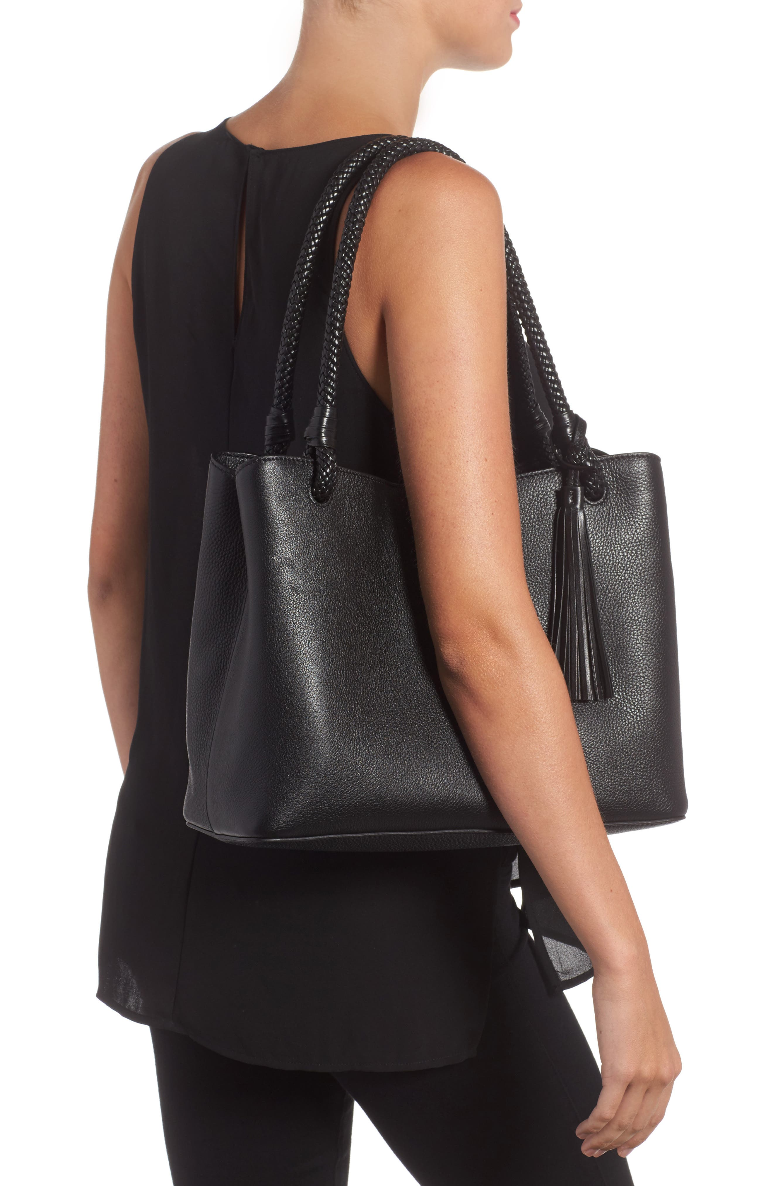 Taylor Triple-Compartment Leather Tote,                             Alternate thumbnail 2, color,                             001