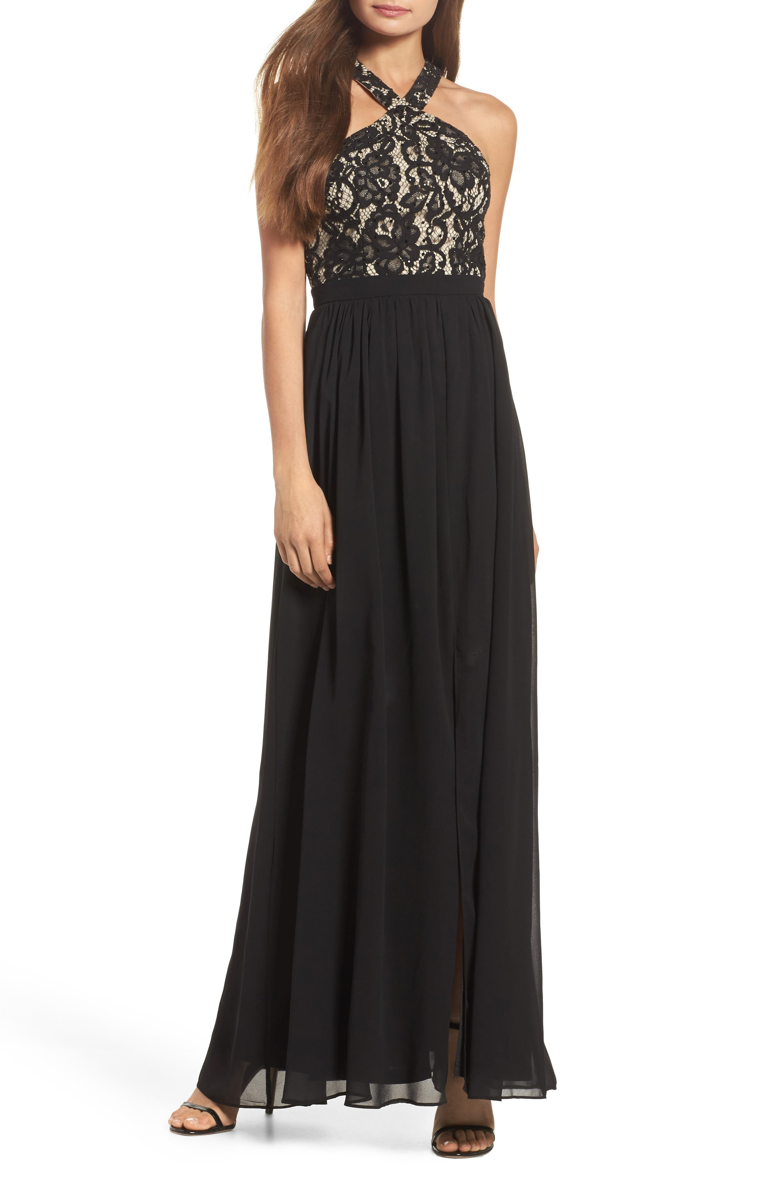 Sequin Lace & Chiffon Halter Gown,                             Main thumbnail 1, color,                             BLACK/ NUDE