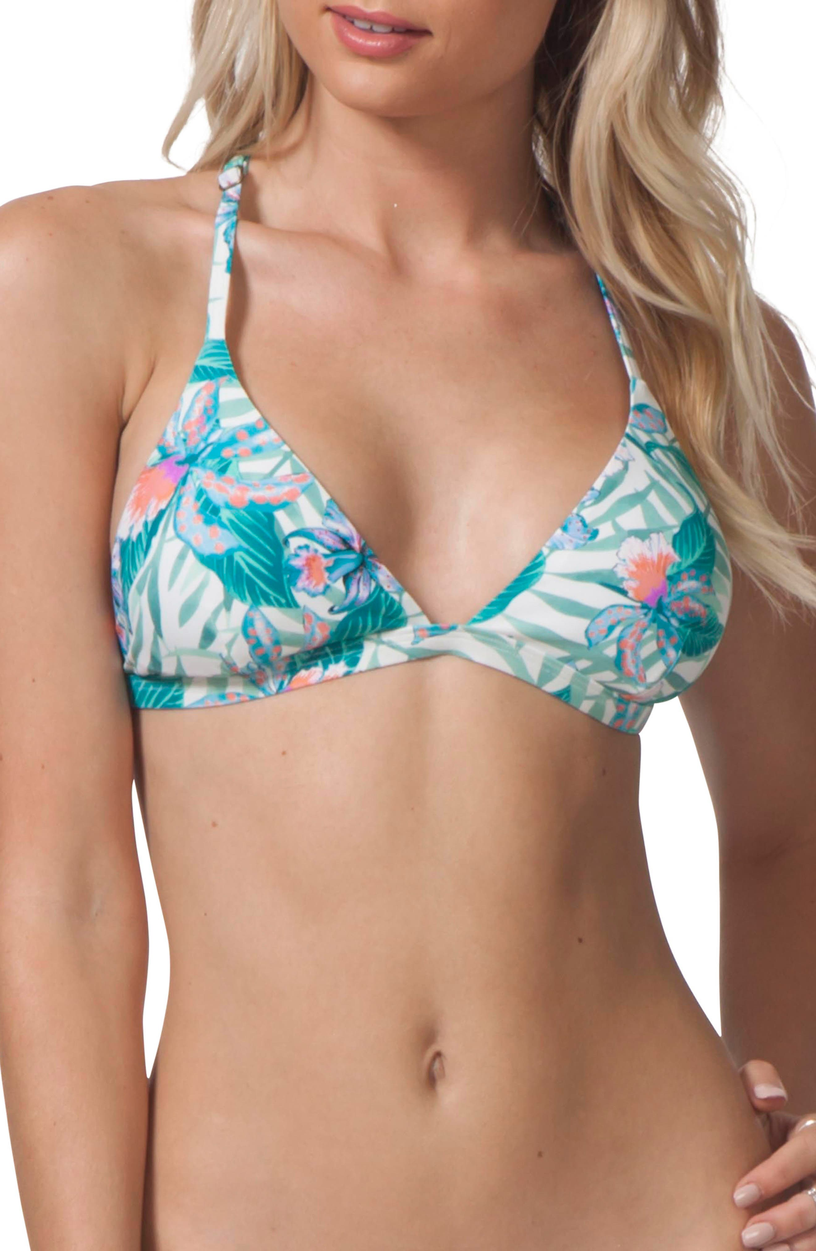 Tropic Tribe Triangle Bikini Top,                             Main thumbnail 1, color,                             100