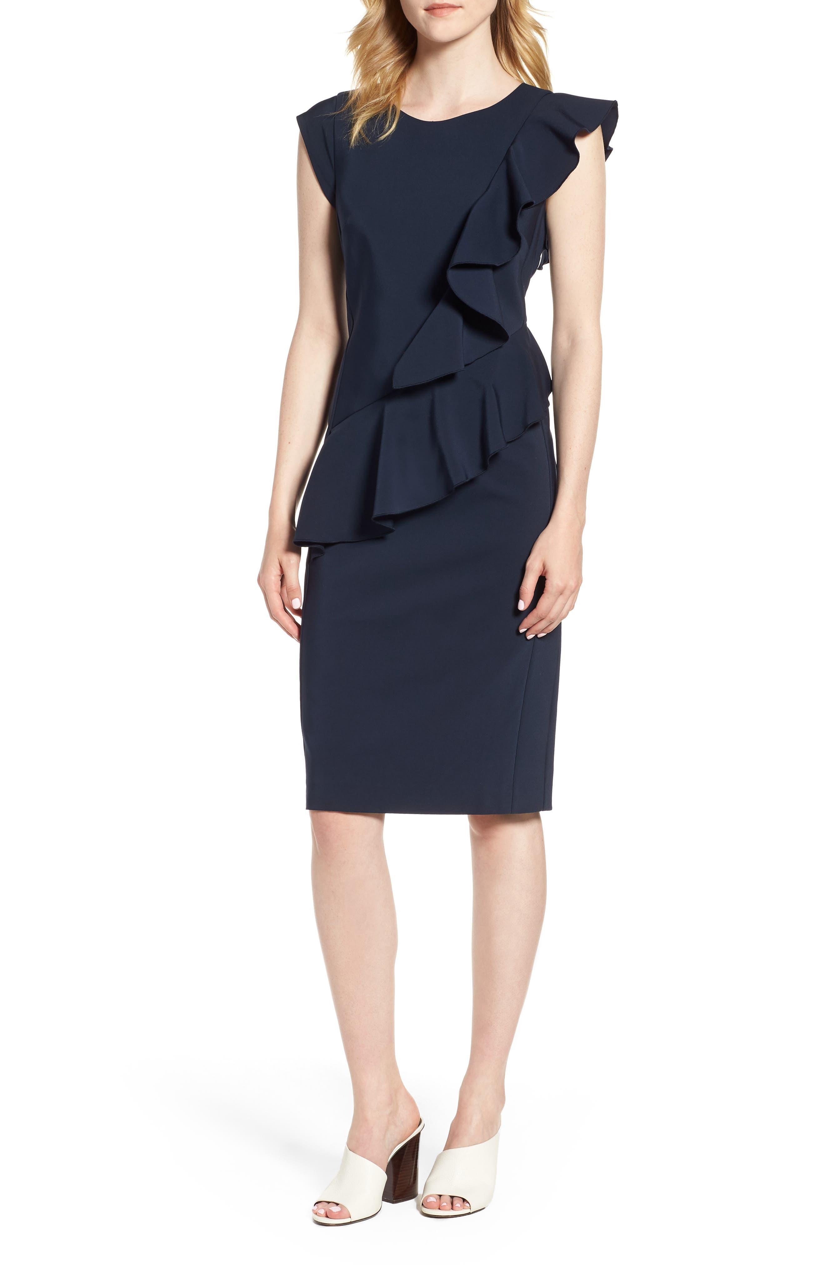 Ruffle Trim Sheath Dress,                             Main thumbnail 1, color,