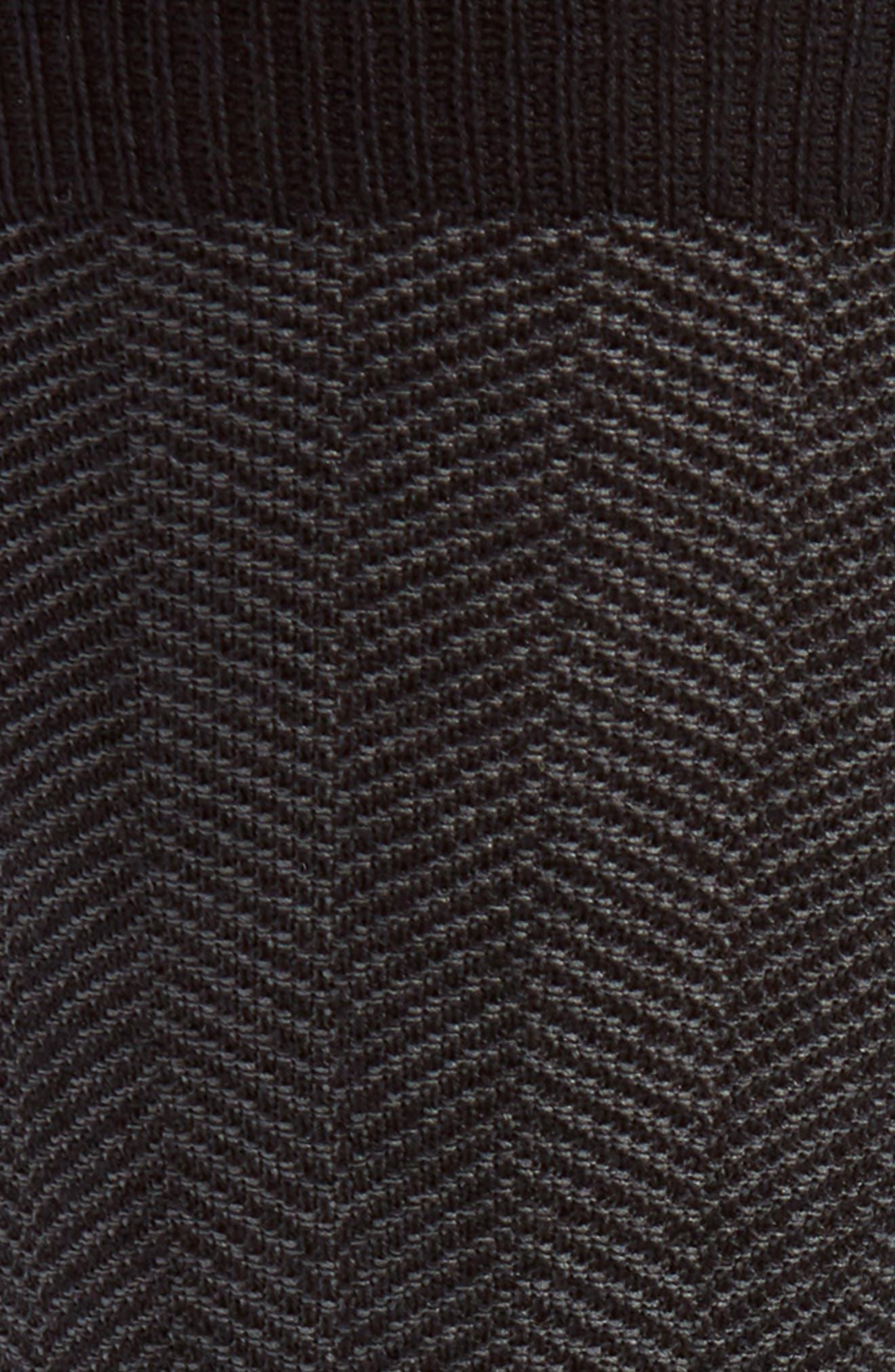Herringbone Texture Crew Socks,                             Alternate thumbnail 2, color,                             BLACK