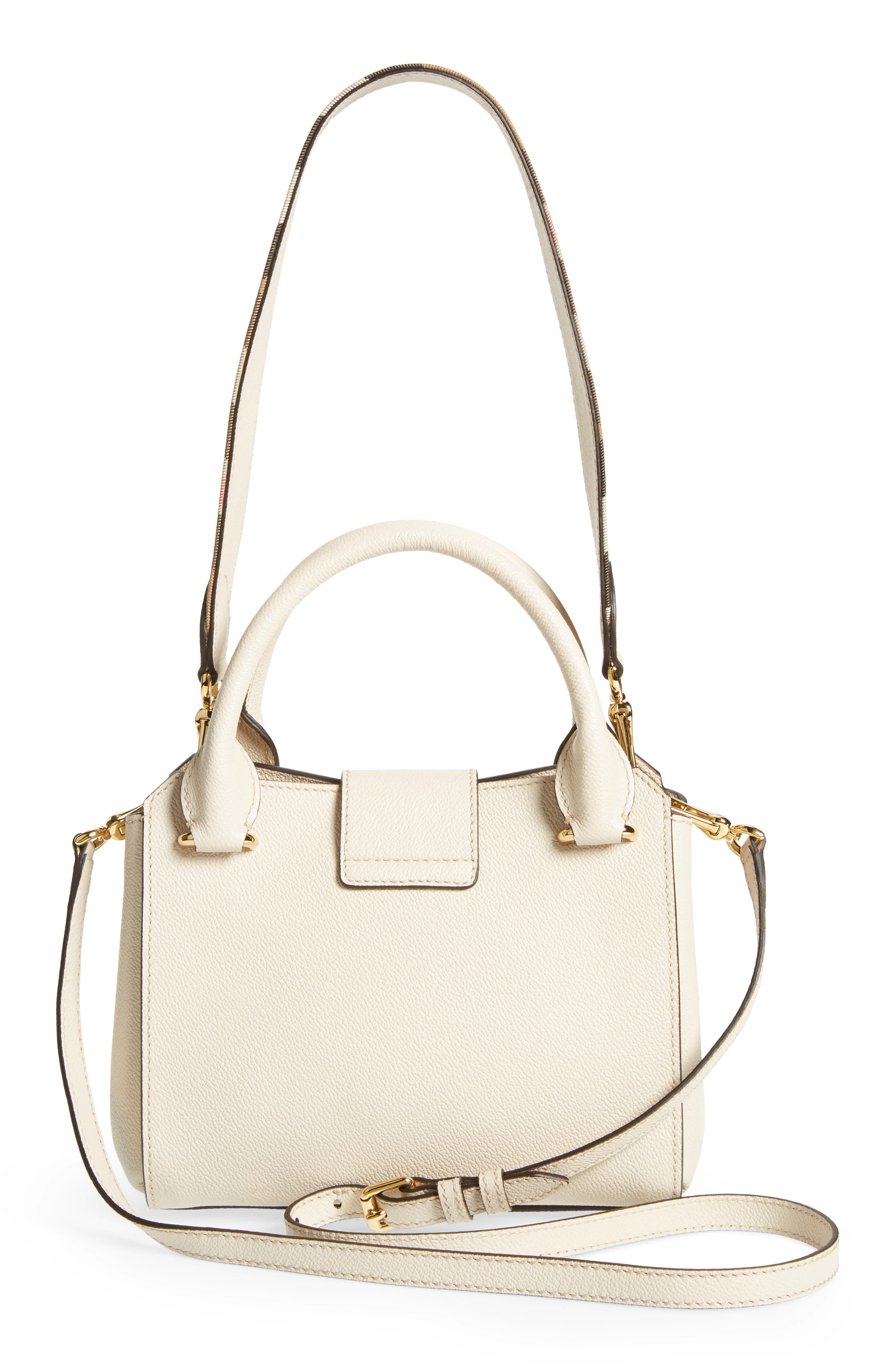 Small Buckle Leather Satchel,                             Alternate thumbnail 3, color,                             052