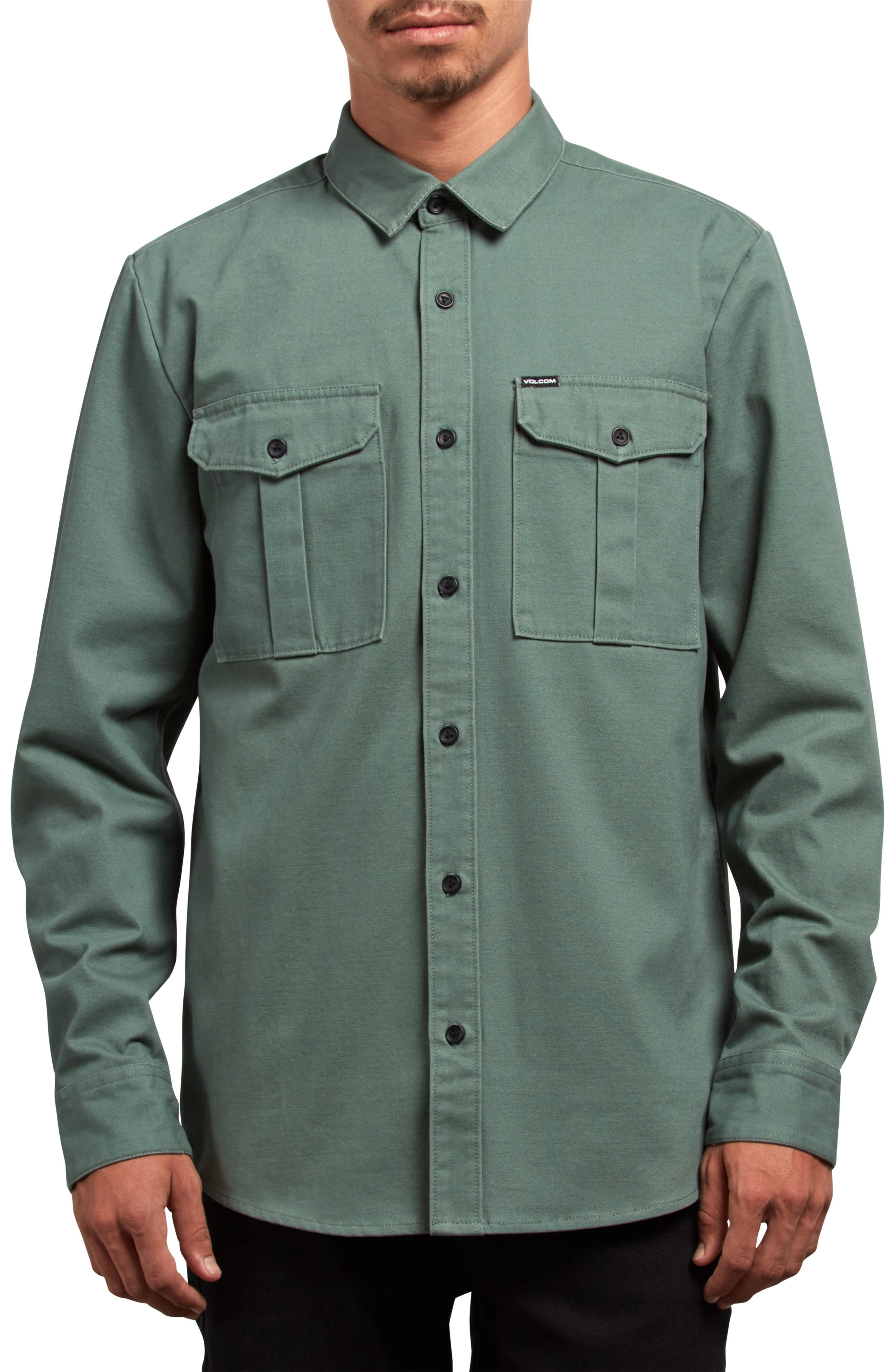 Volcom Huckster Heavyweight Sport Shirt, Green