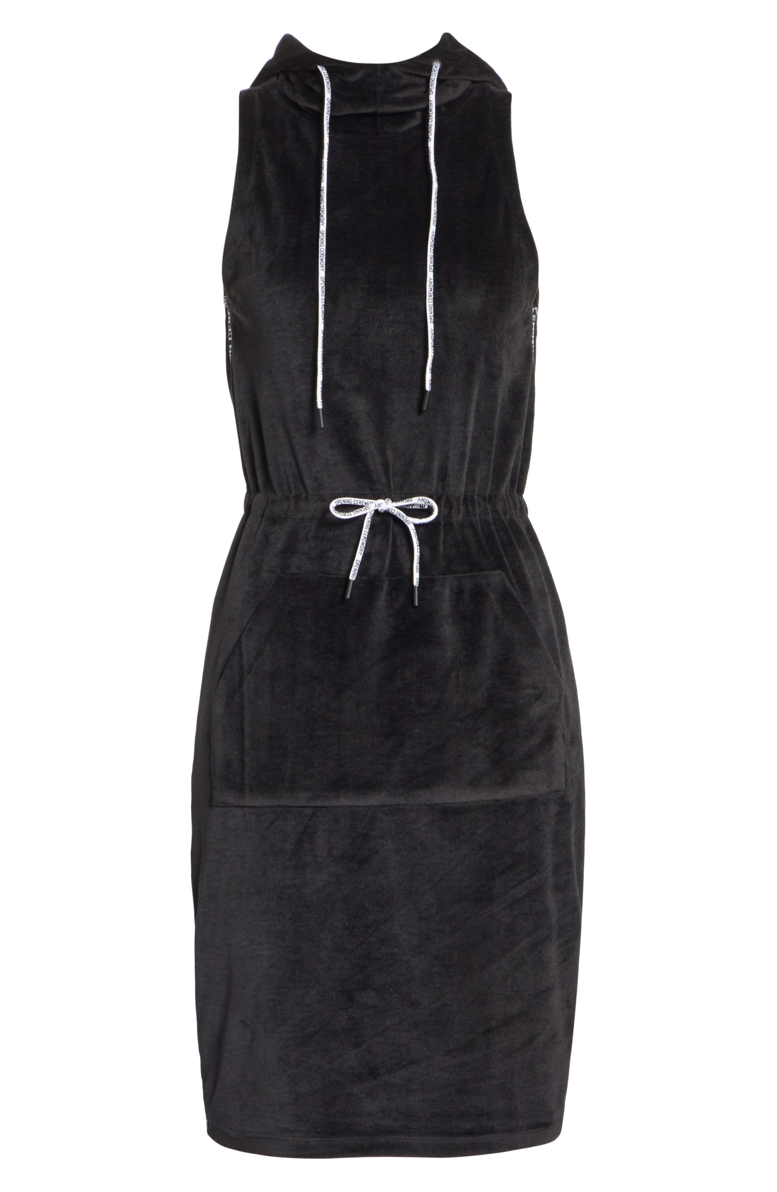 Velour Hoodie Dress,                             Alternate thumbnail 6, color,                             001