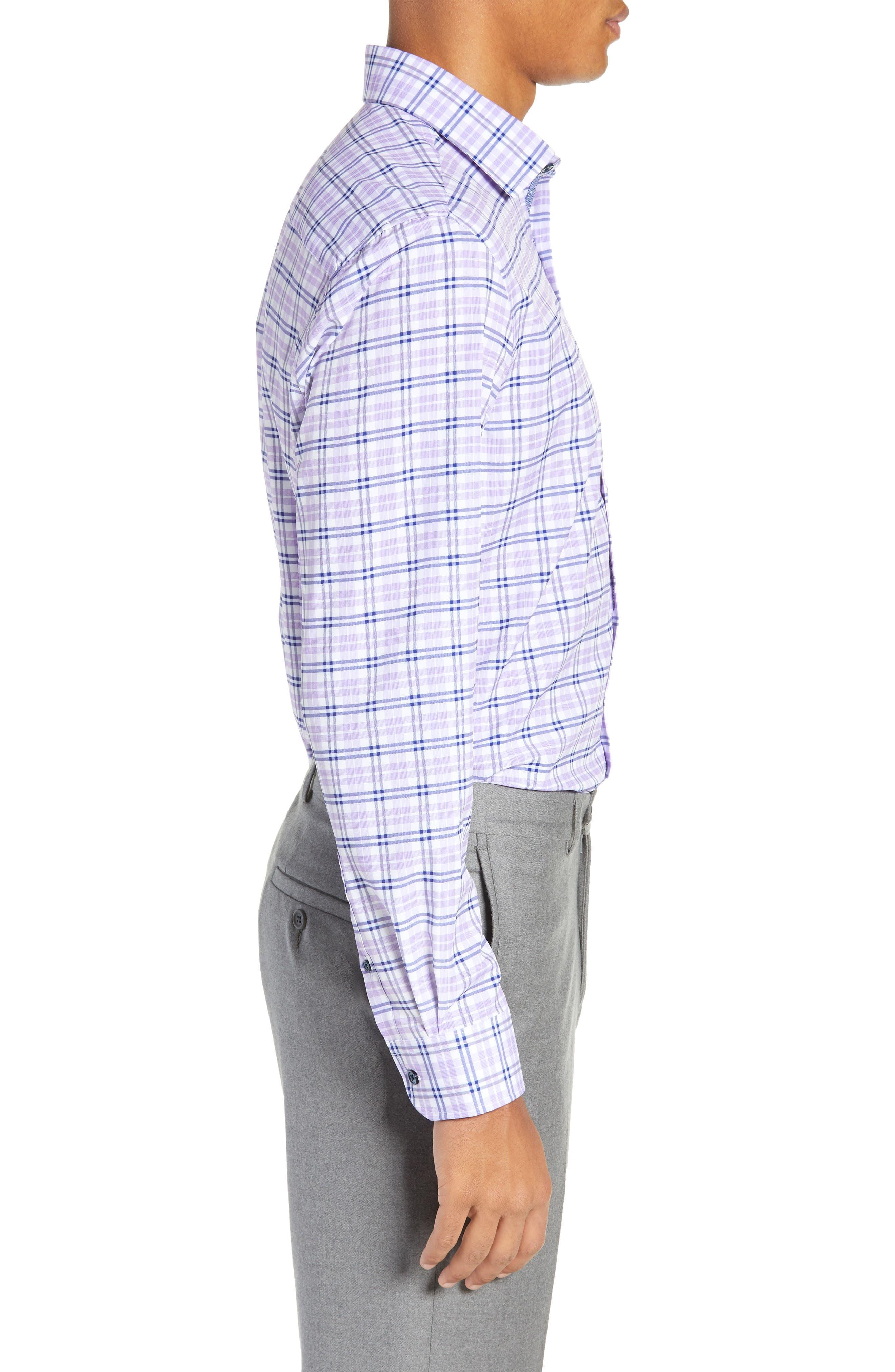 Trim Fit 4-Way Stretch Plaid Dress Shirt,                             Alternate thumbnail 4, color,                             PURPLE