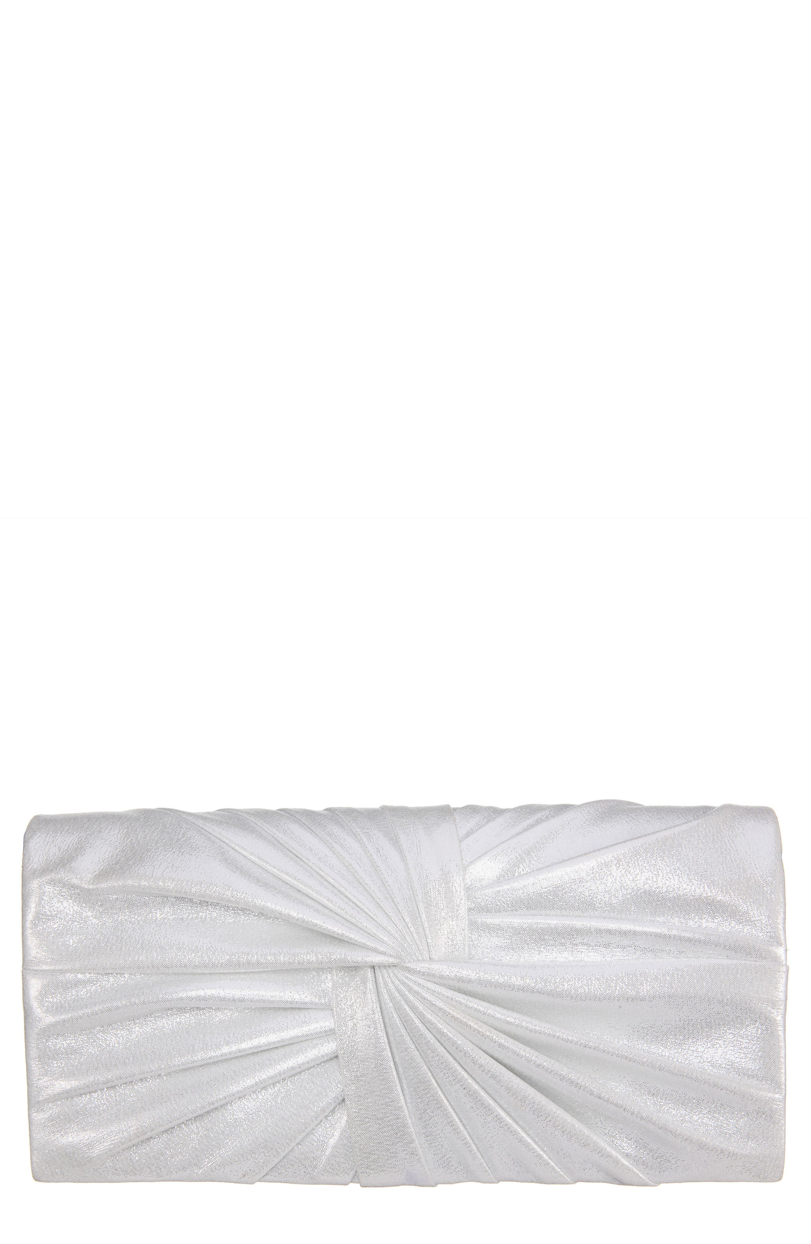 Durham Twisted Knot Clutch,                             Main thumbnail 1, color,                             LT SILVER