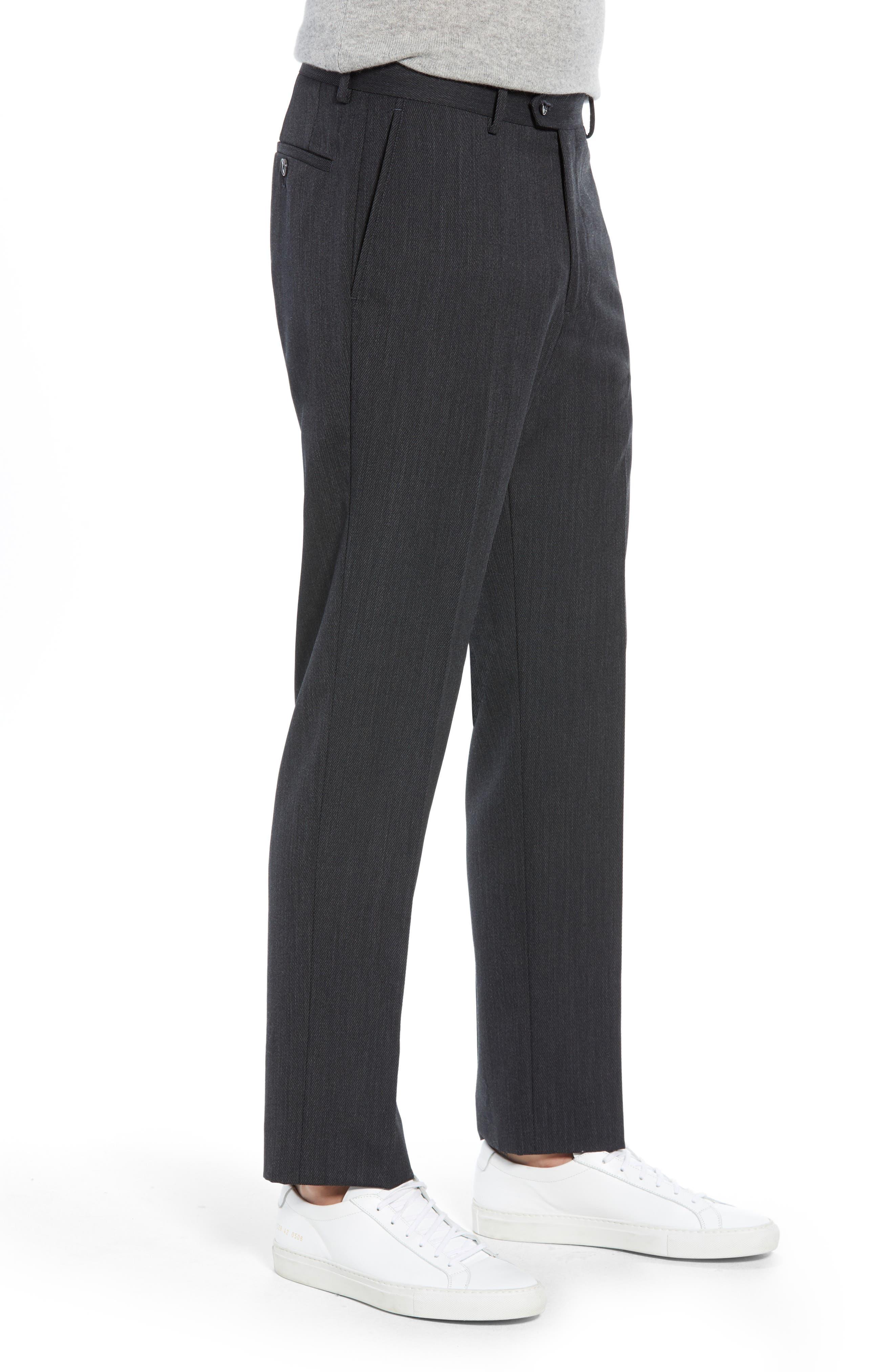Trim Fit Flat Front Wool Blend Pants,                             Alternate thumbnail 3, color,                             021