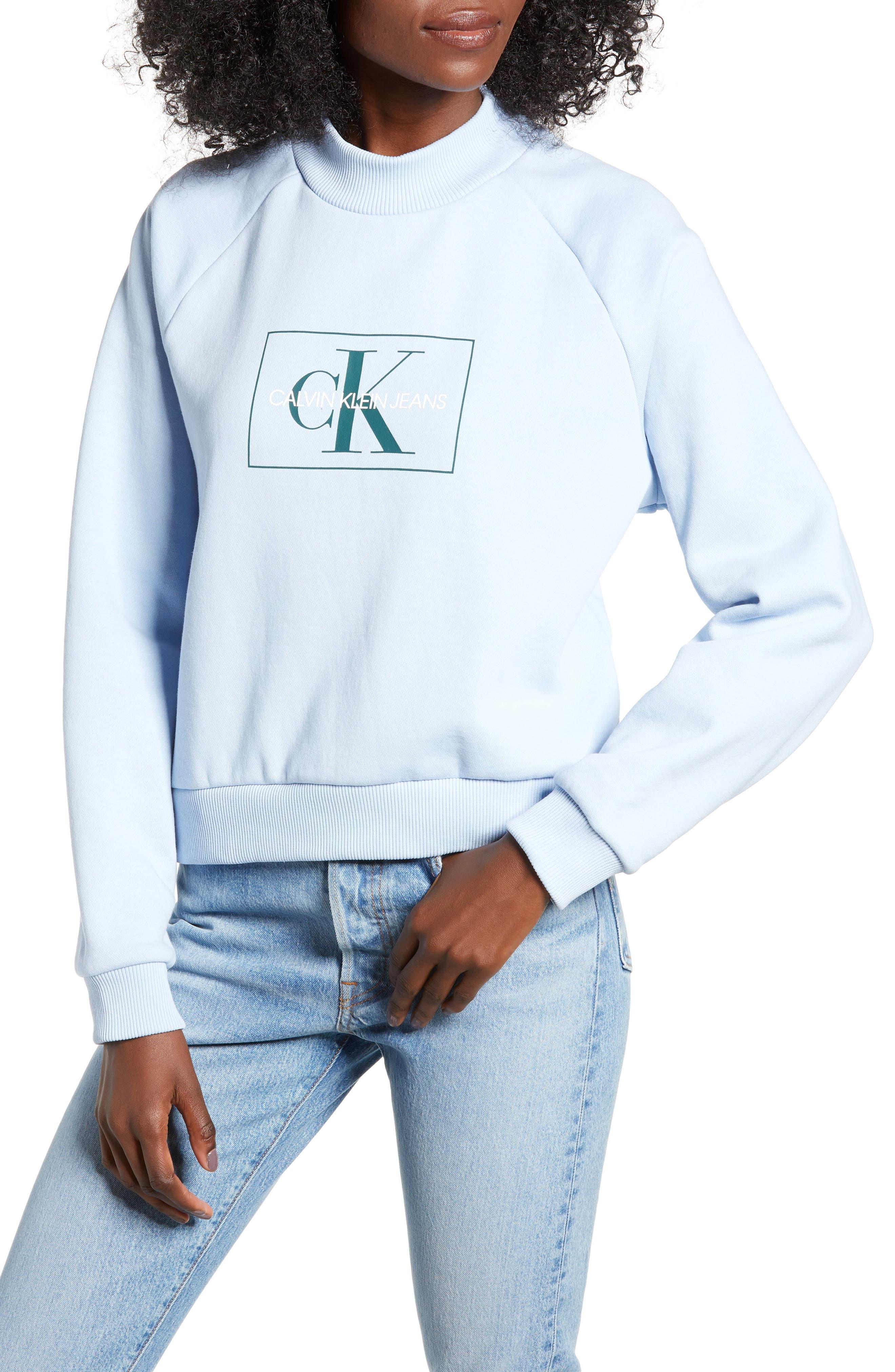 Calvin Klein Jeans Mock Neck Sweatshirt, Blue