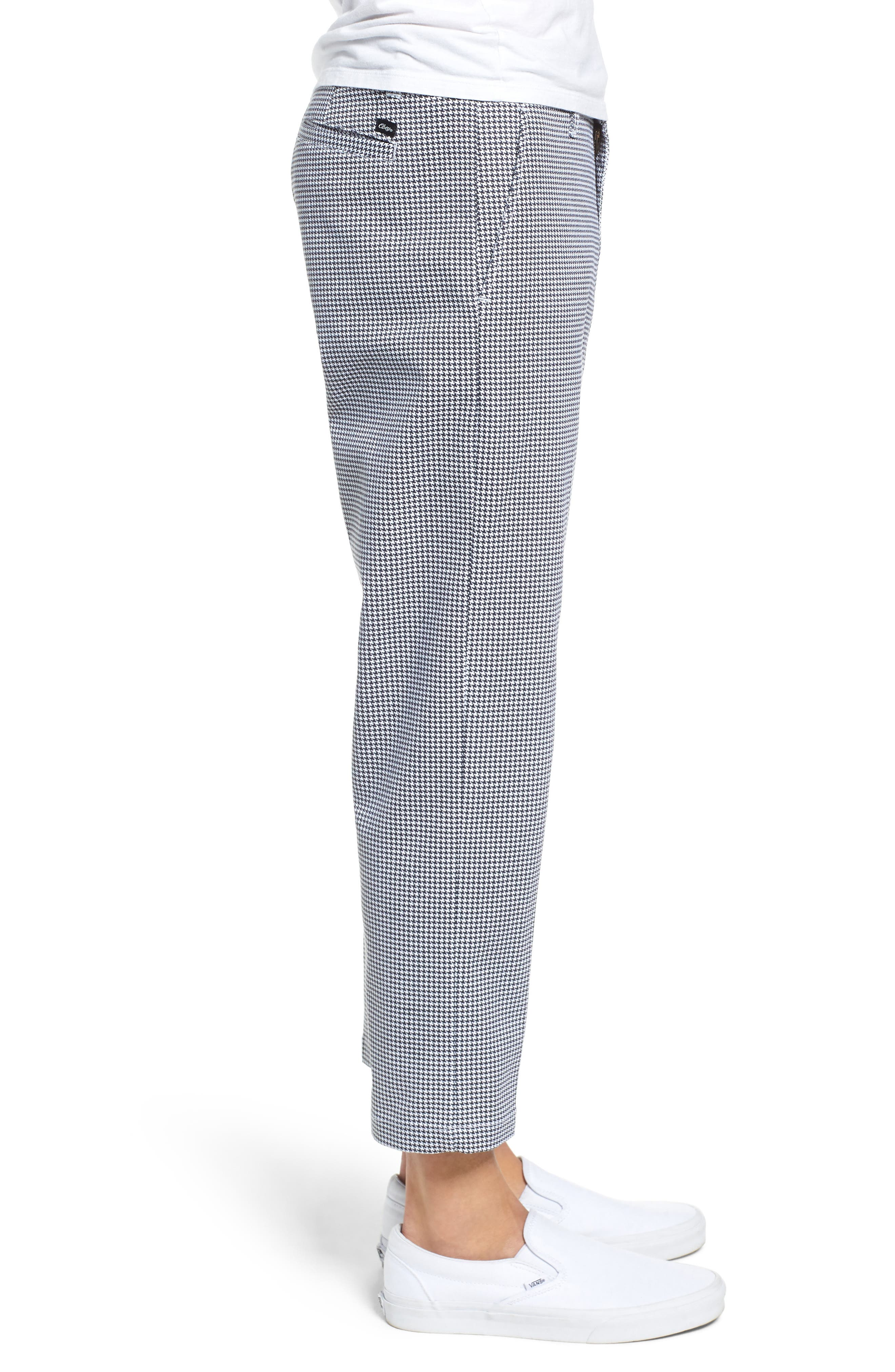 Relaxed Fit Houndstooth Cropped Pants,                             Alternate thumbnail 3, color,                             WHITE MULTI