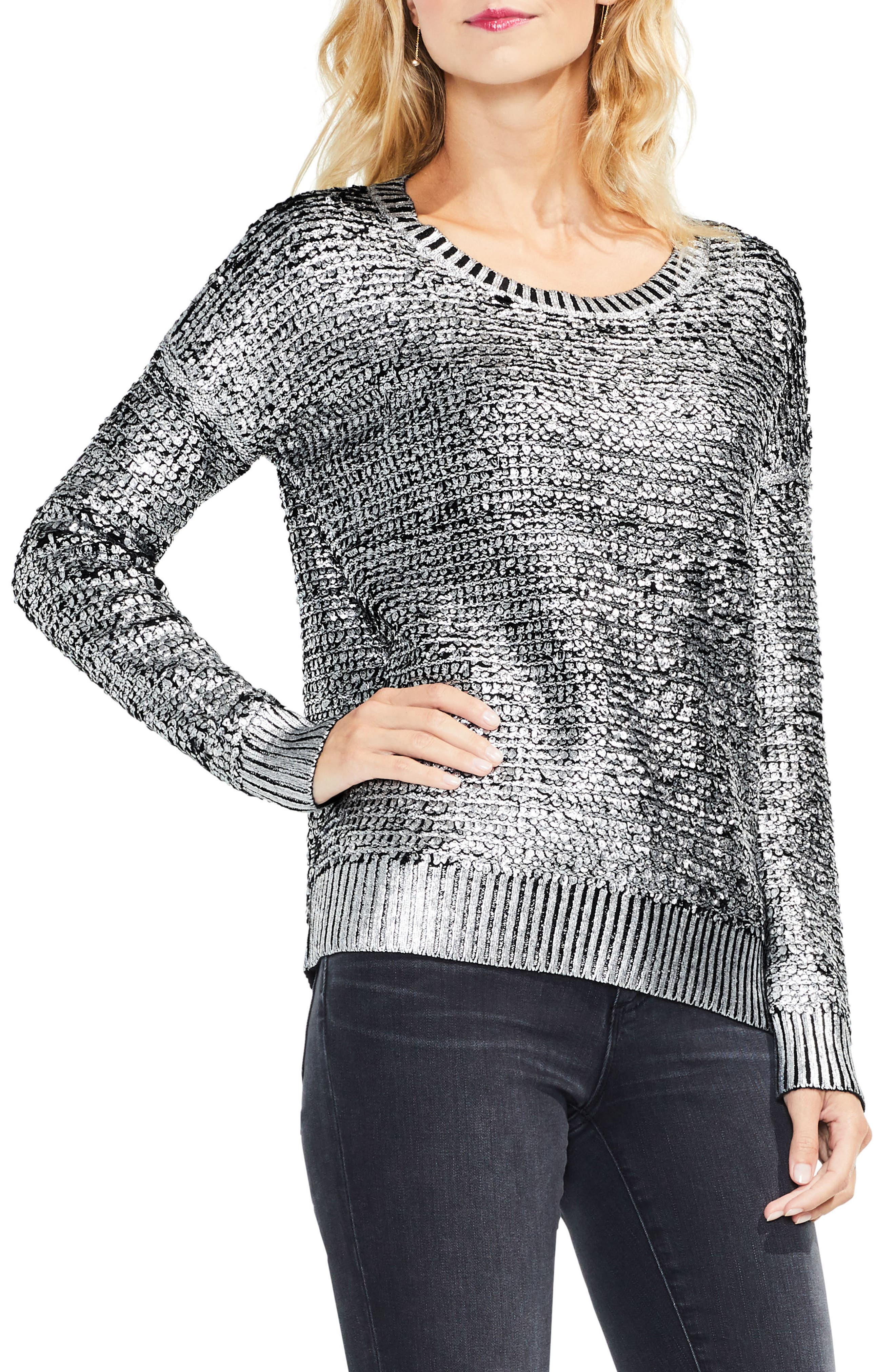 Loop Stitch Foil Print Sweater,                             Main thumbnail 1, color,                             006