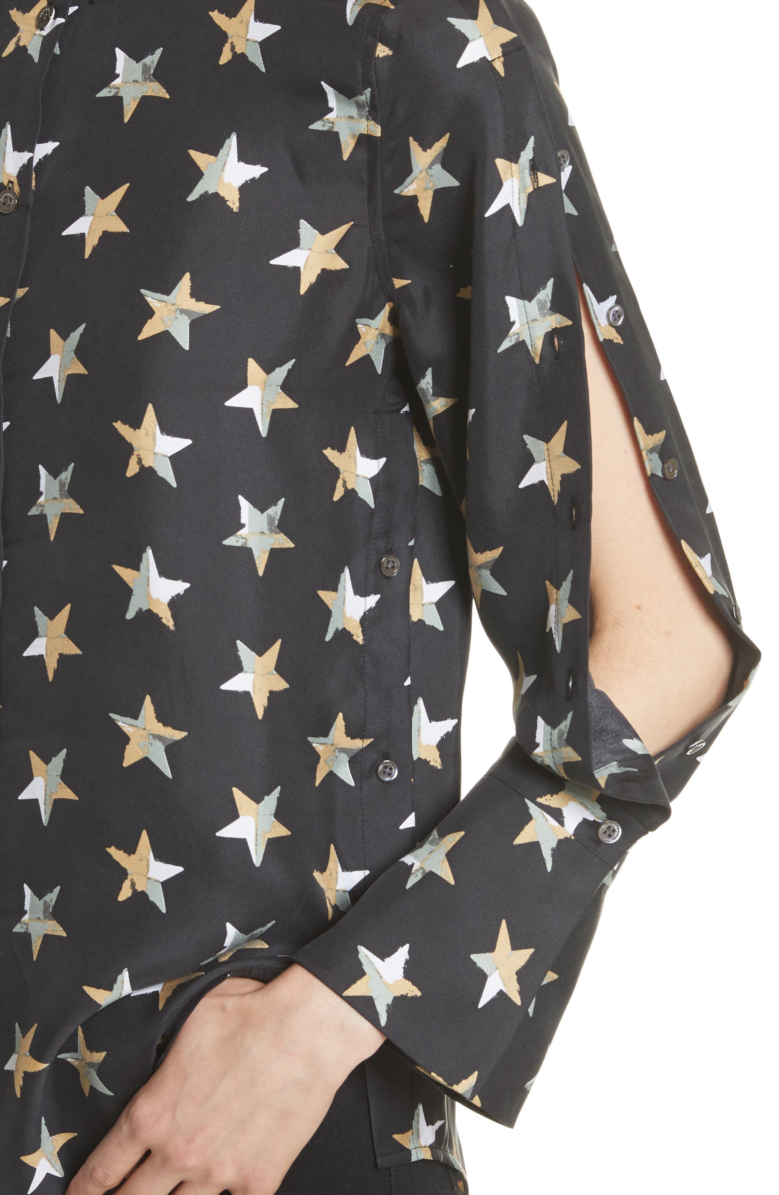Rossi Button Detail Star Print Silk Shirt,                             Alternate thumbnail 4, color,                             006