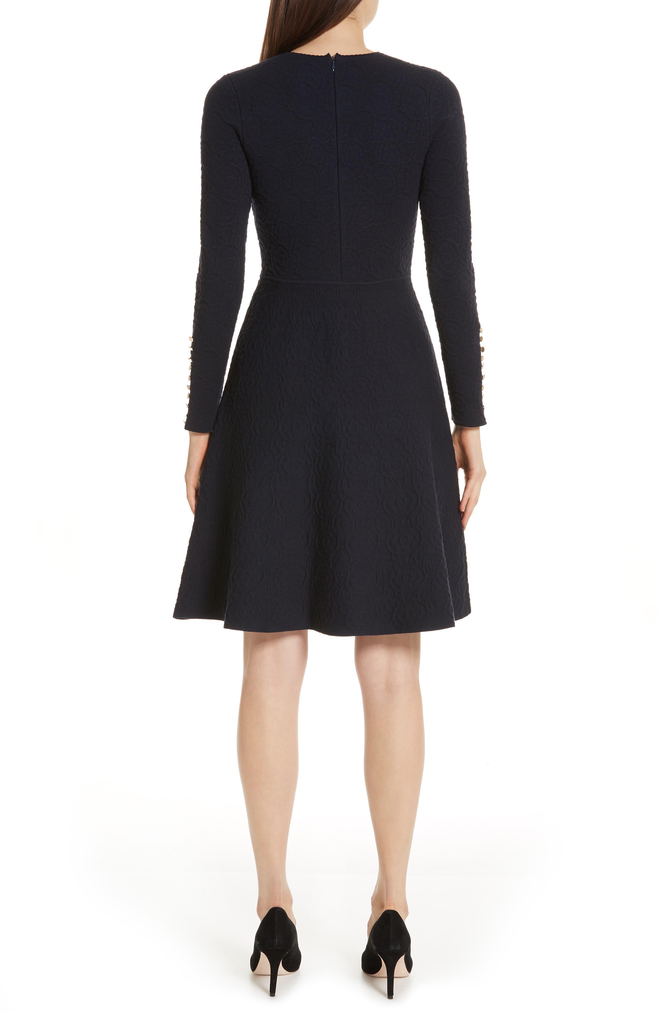 Textured Jacquard Knit Fit & Flare Dress,                             Alternate thumbnail 2, color,                             NAVY