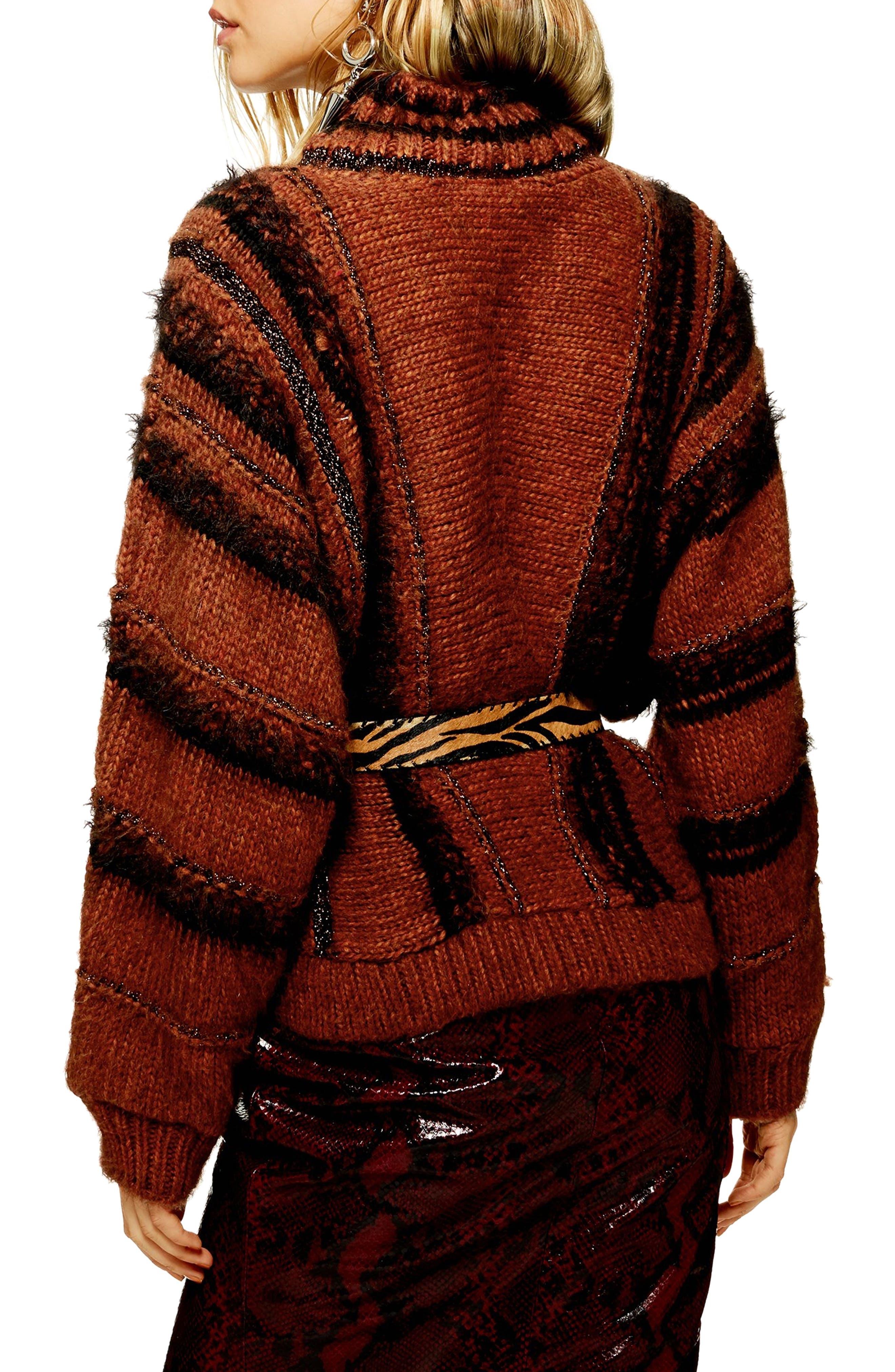 Metallic Stripe Sweater,                             Alternate thumbnail 2, color,                             BROWN MULTI