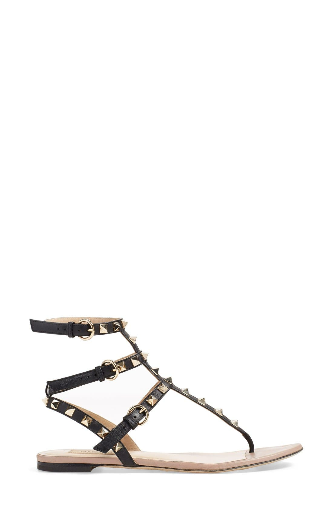 'Rockstud' Sandal,                             Alternate thumbnail 3, color,                             BLACK LEATHER