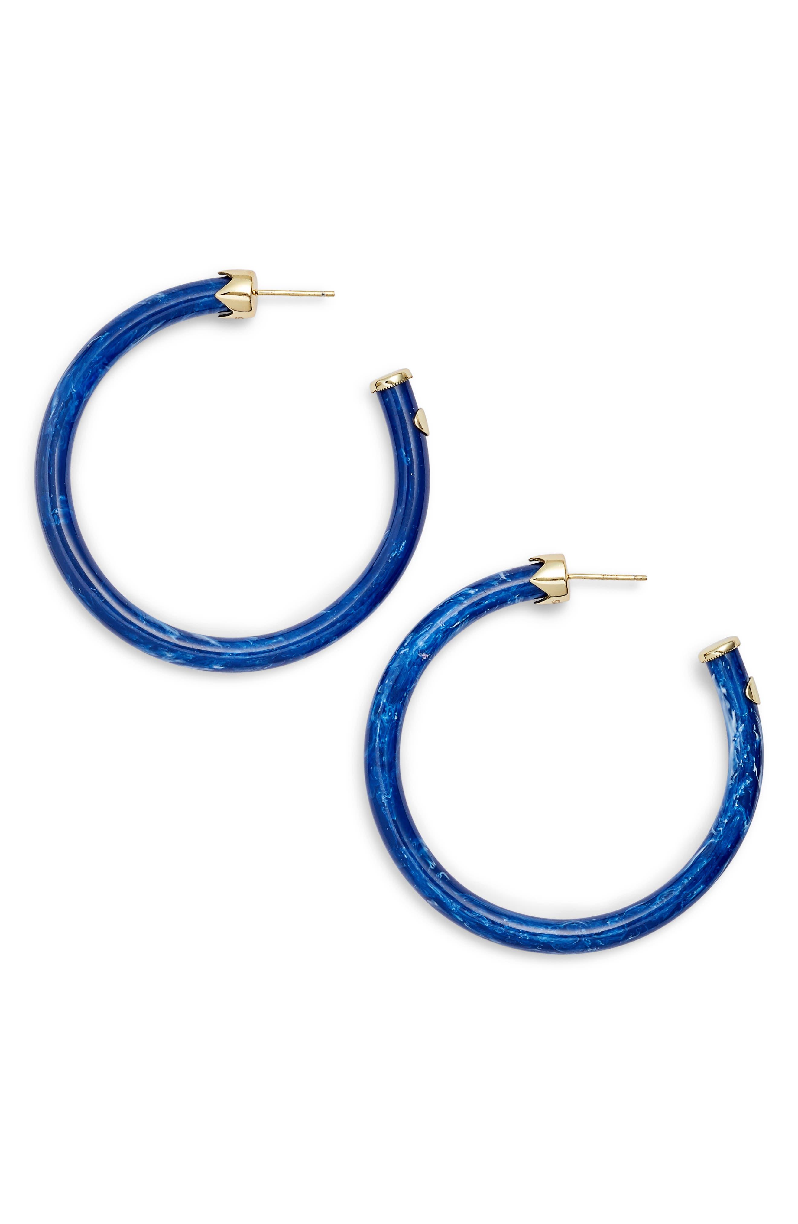 Marbleized Hoop Earrings,                         Main,                         color, GOLD/ LAPIS