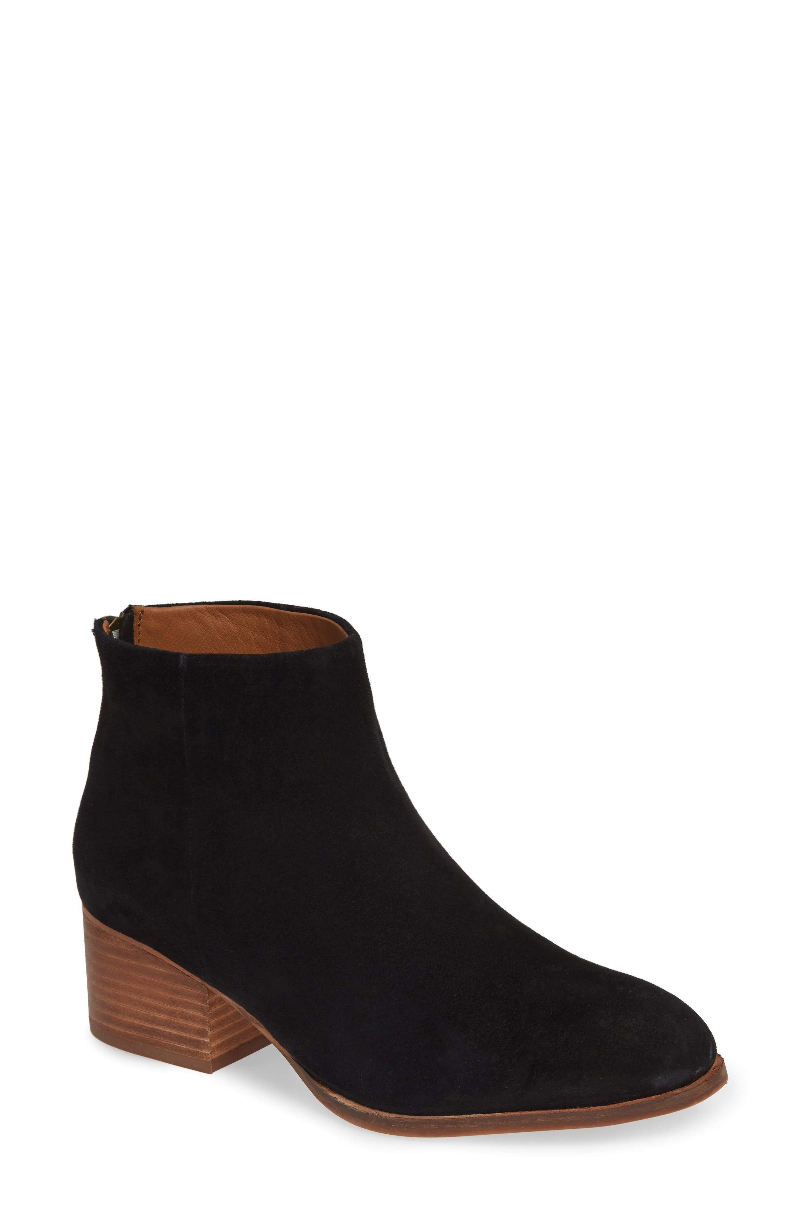 Floodplain Block Heel Bootie,                         Main,                         color, BLACK SUEDE