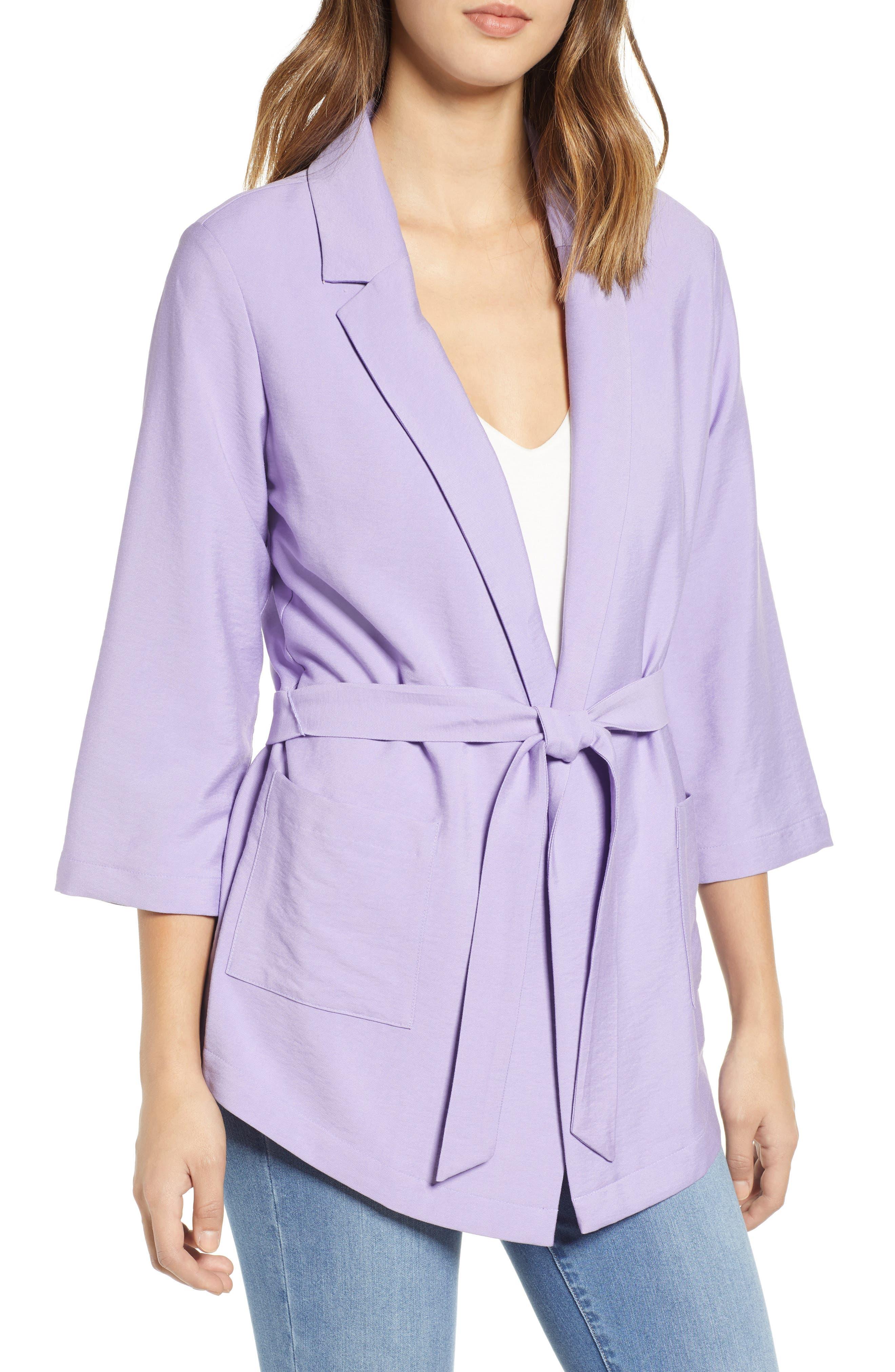 Belted Jacket, Main, color, PURPLE BONNET