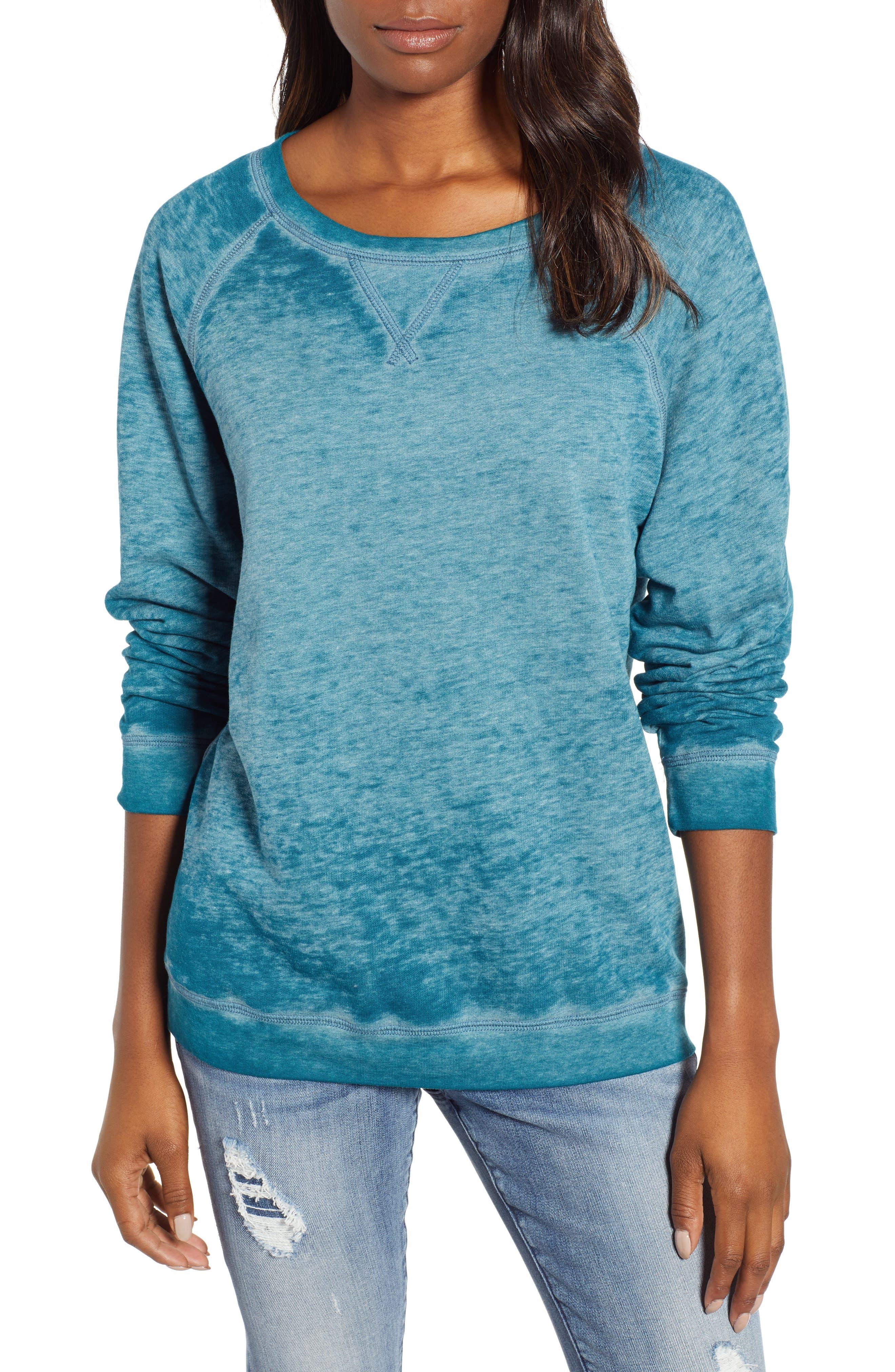 Burnout Sweatshirt,                         Main,                         color, TEAL CORAL