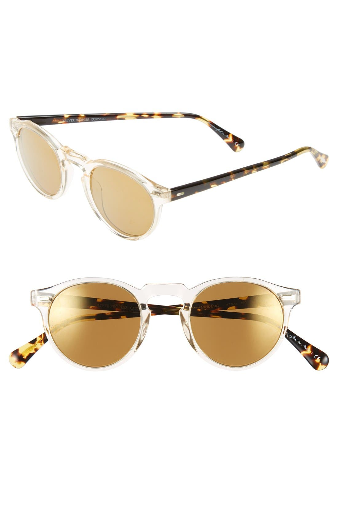 OLIVER PEOPLES,                             'Gregory Peck' 47mm Retro Sunglasses,                             Main thumbnail 1, color,                             YELLOW/ GOLD MIRROR