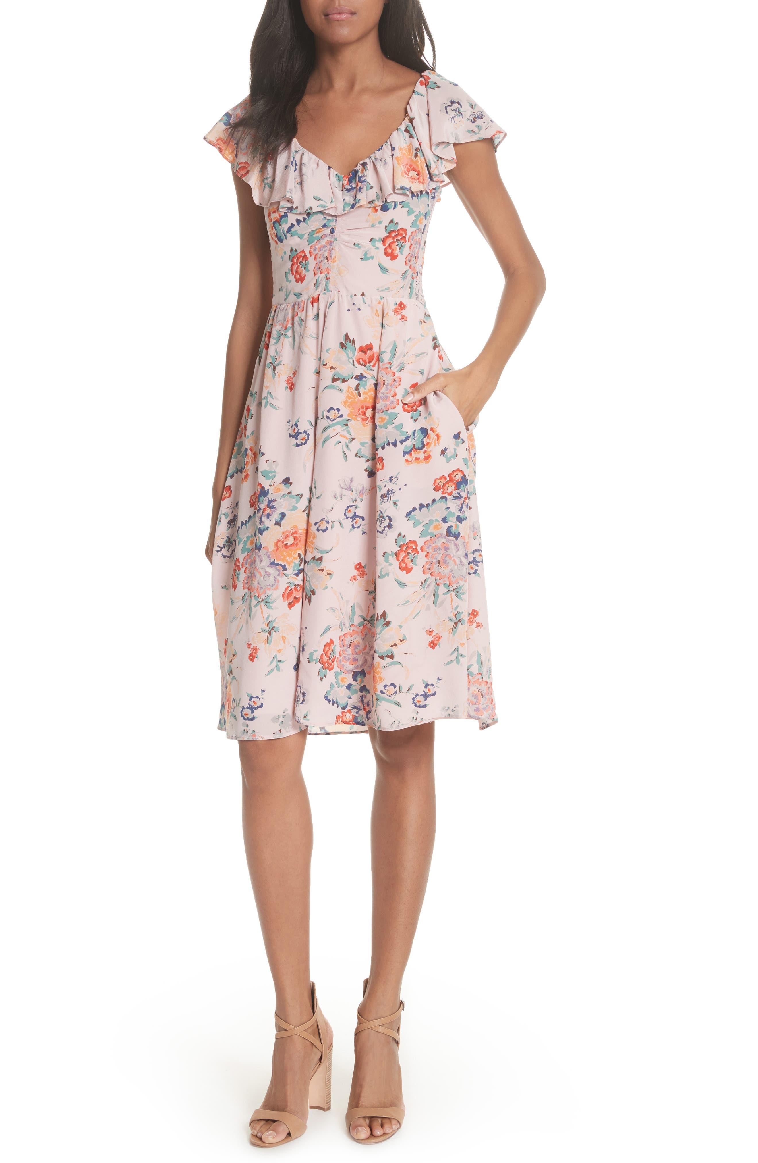 Marlena Ruffle Silk Dress,                             Main thumbnail 1, color,                             657