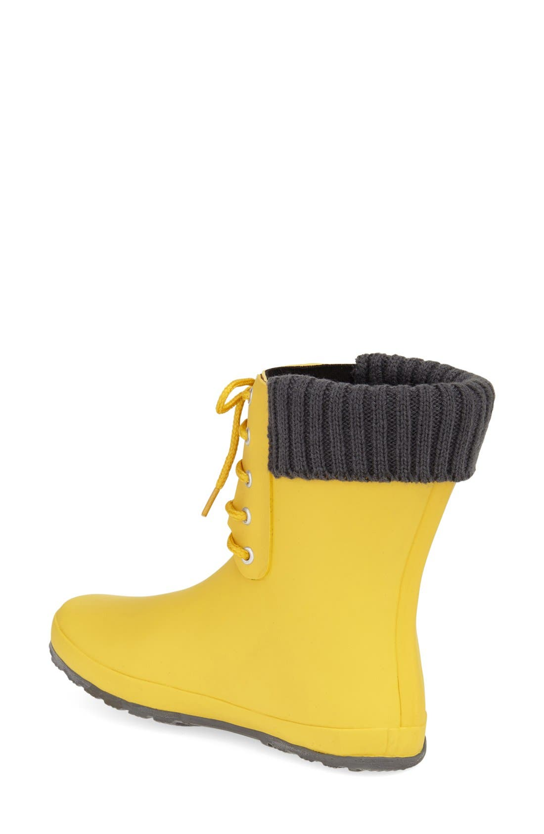 Lace-Up Weatherproof Rain Boot,                             Alternate thumbnail 2, color,                             BUTTER YELLOW