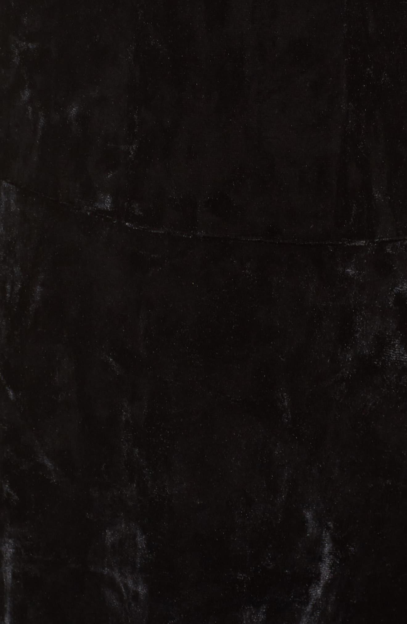 Off the Shoulder Velvet A-Line Dress,                             Alternate thumbnail 6, color,                             BLACK