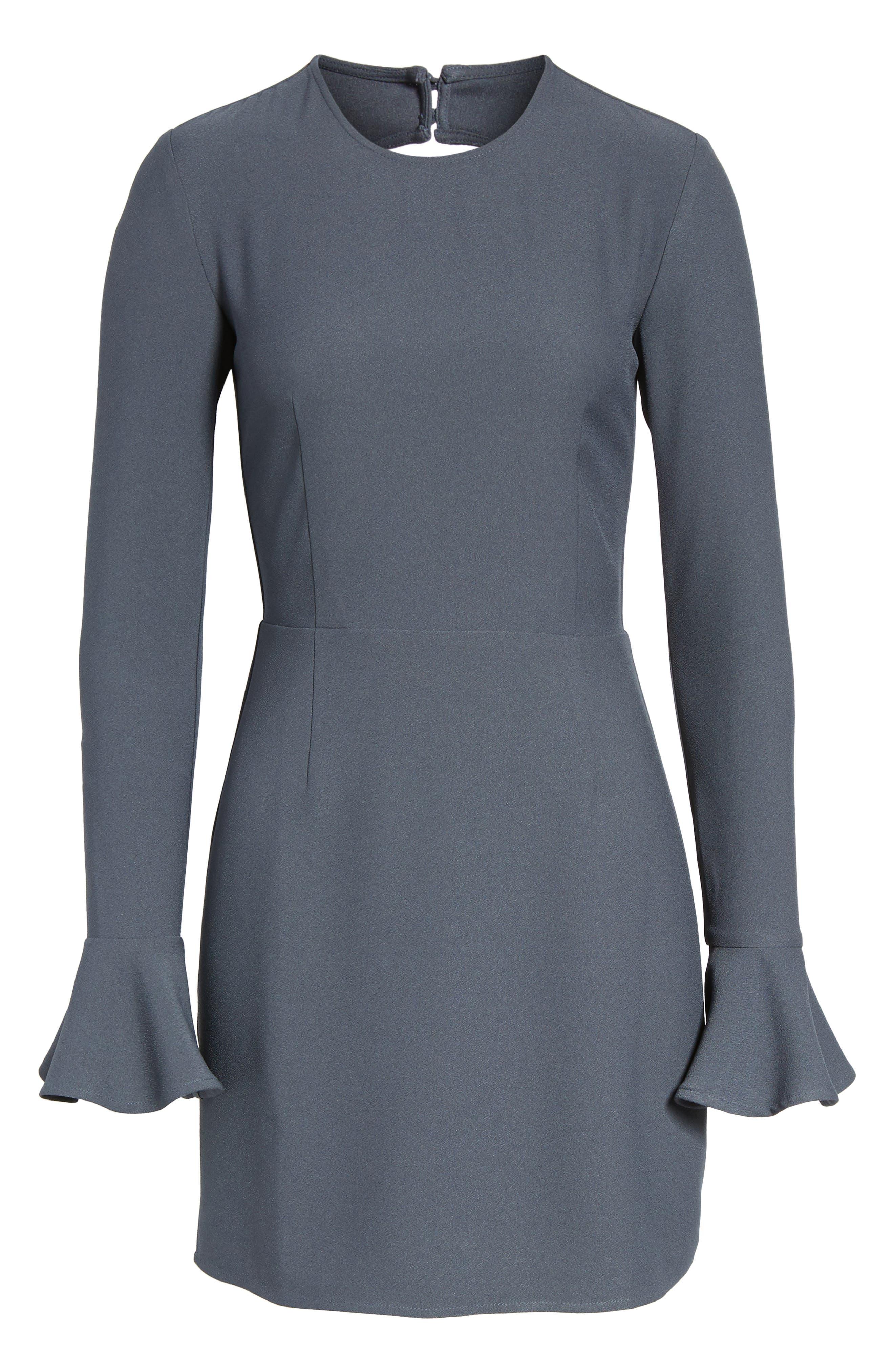 Bell Sleeve Sheath Dress,                             Alternate thumbnail 6, color,                             410