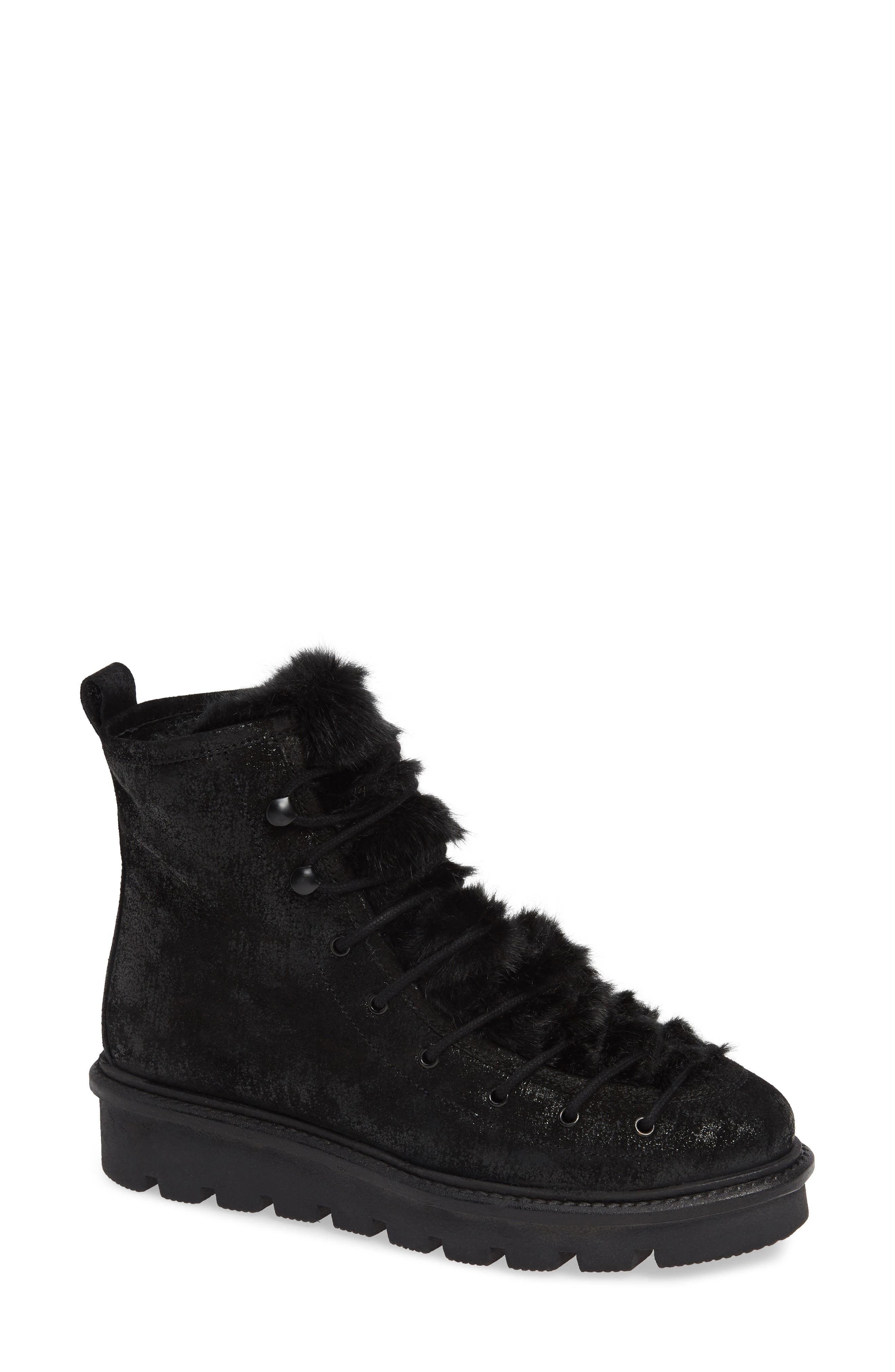 Seychelles Resource Lace-Up Boot With Faux Fur Trim, Black