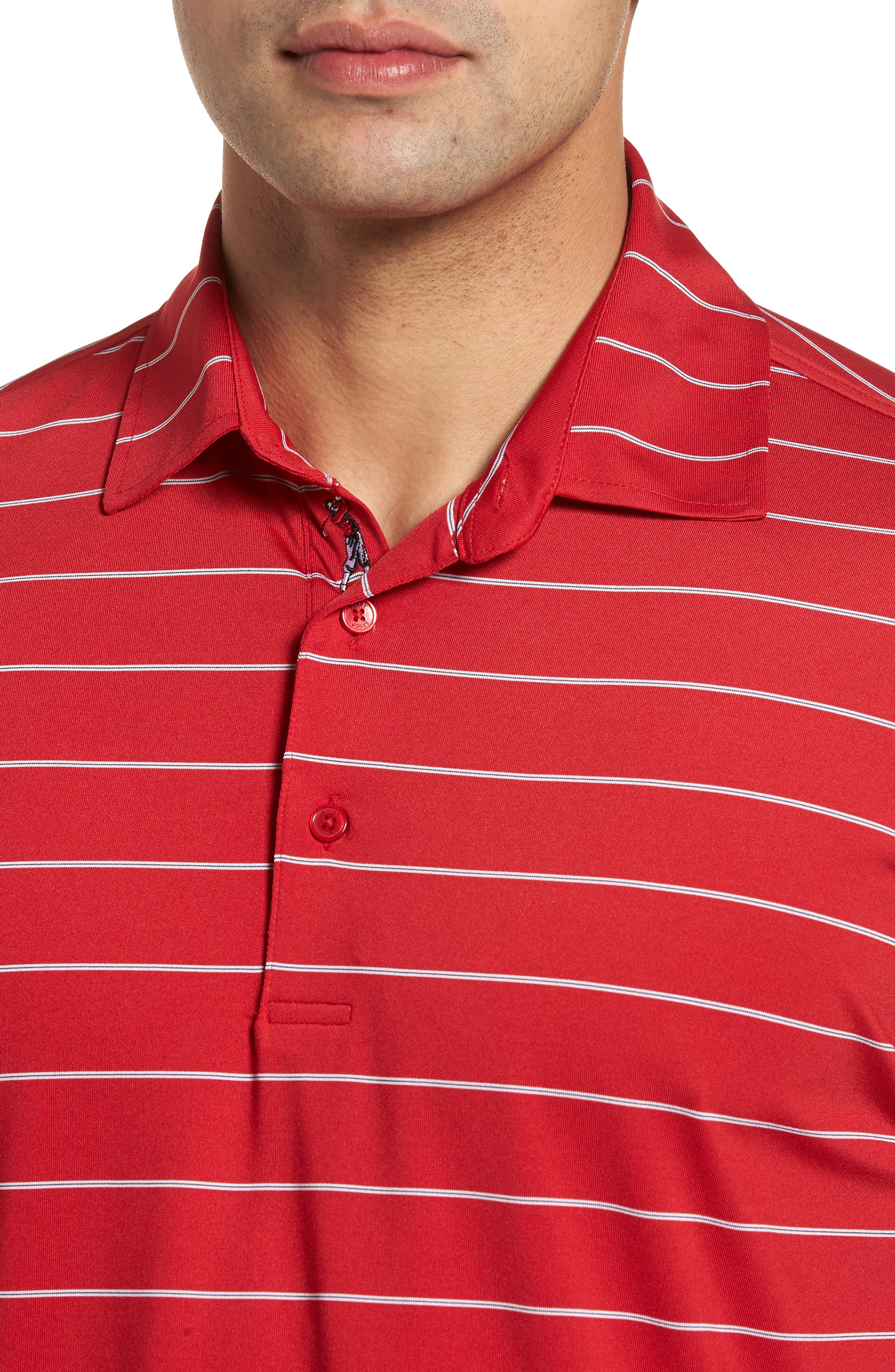 XH2O Momentum Stripe Jersey Polo,                             Alternate thumbnail 4, color,                             CAMBRIDGE RED