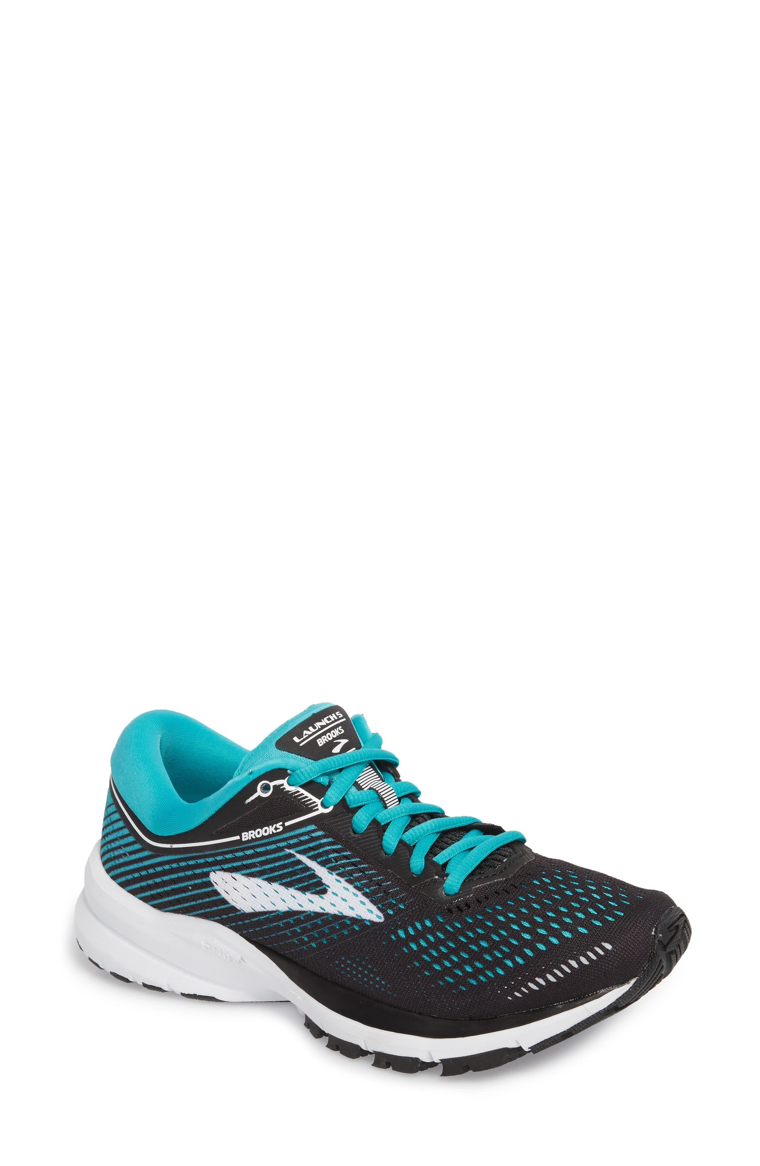 BROOKS,                             Launch 5 Running Shoe,                             Main thumbnail 1, color,                             BLACK/ TEAL GREEN/ WHITE
