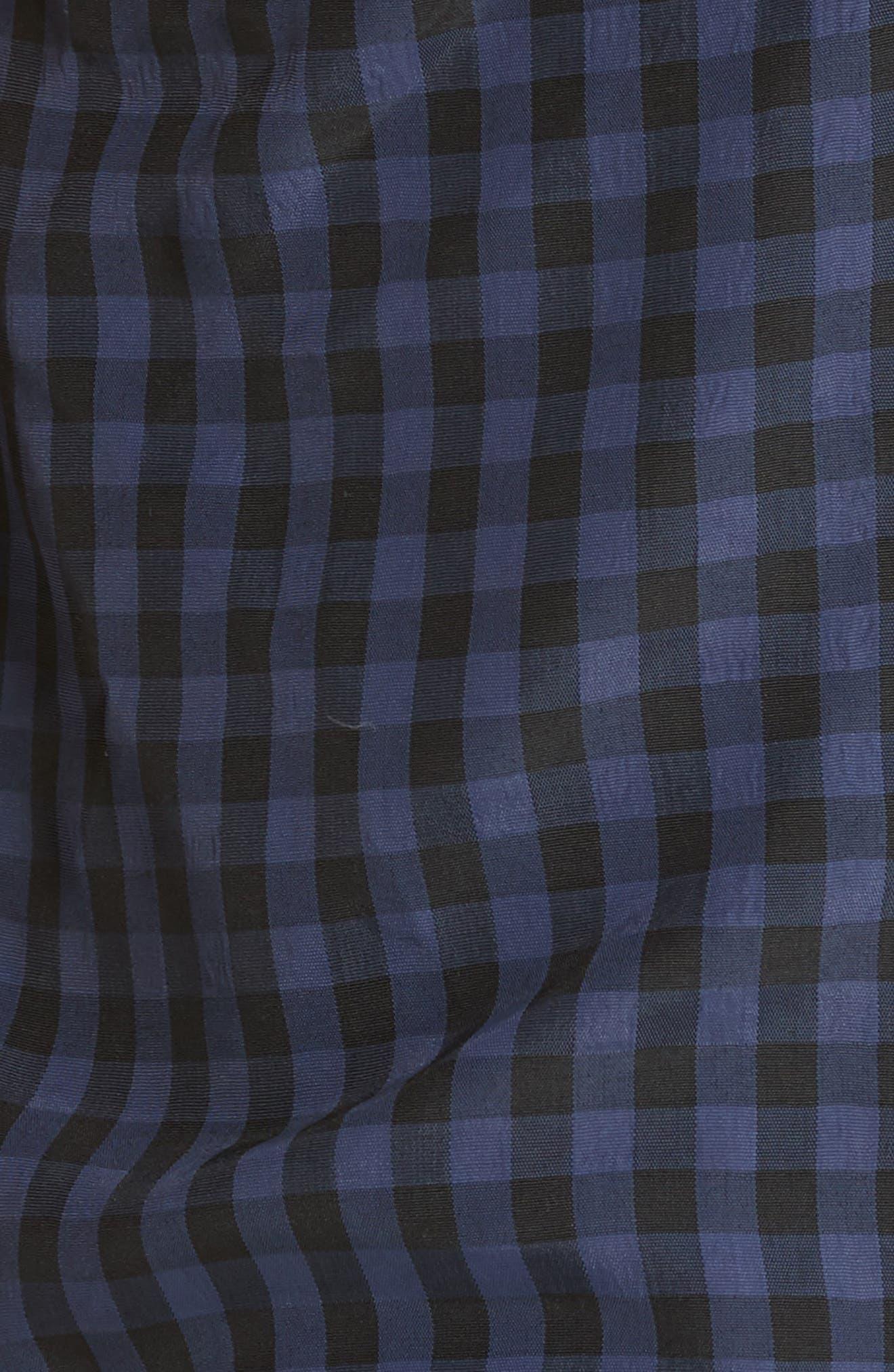 Gingham Paperbag Waist Shorts,                             Alternate thumbnail 5, color,                             NAVY MULTI