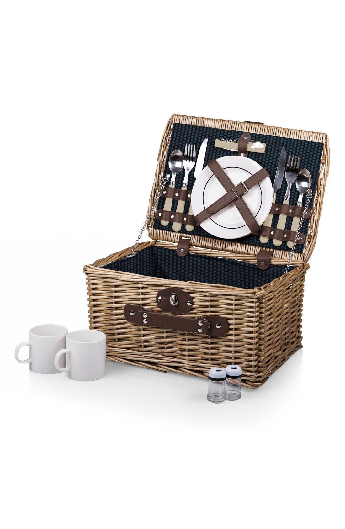 'Catalina' Wicker Picnic Basket,                         Main,                         color, BLUE