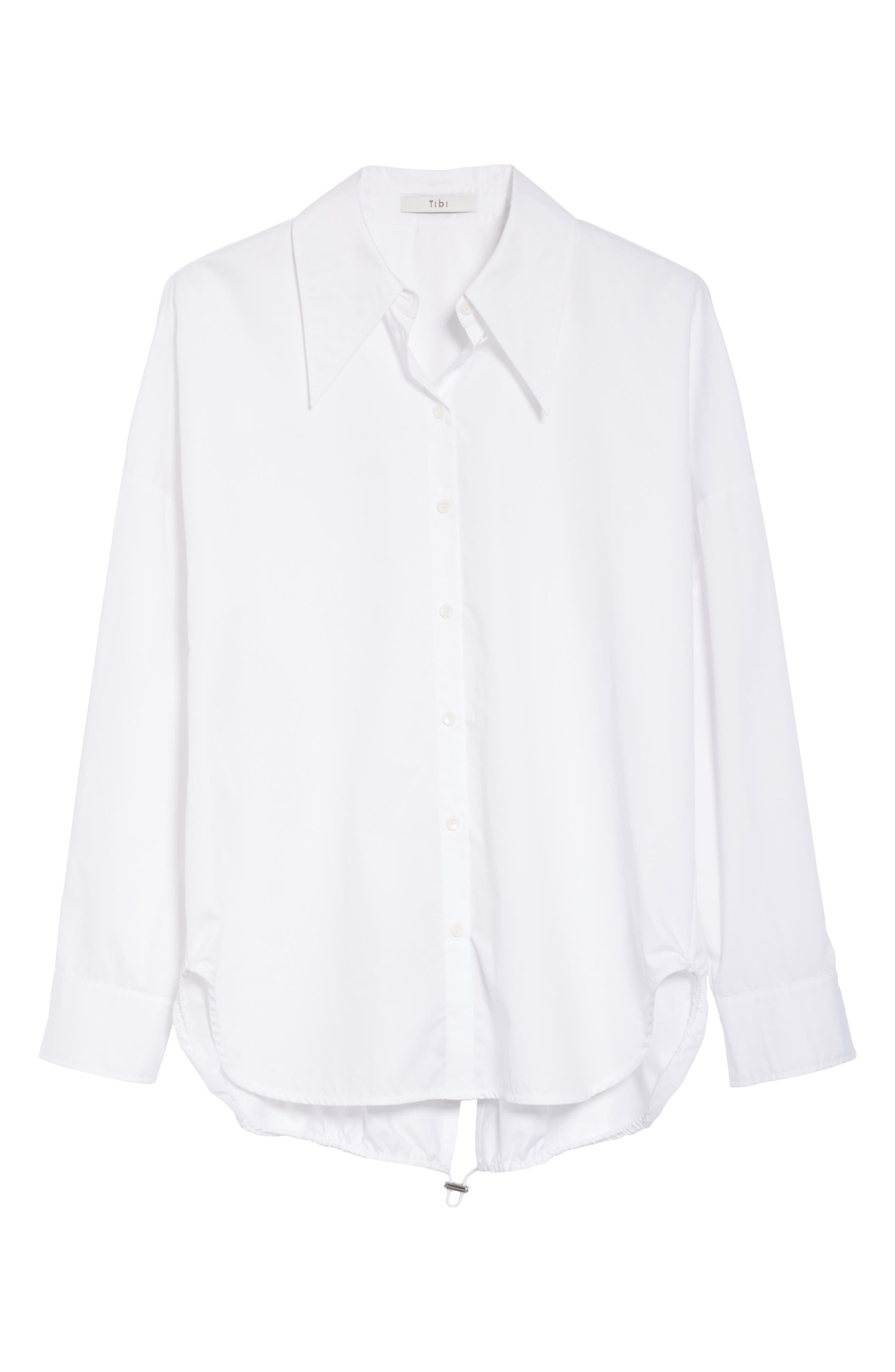 Oversize Poplin Shirt,                             Alternate thumbnail 6, color,                             WHITE