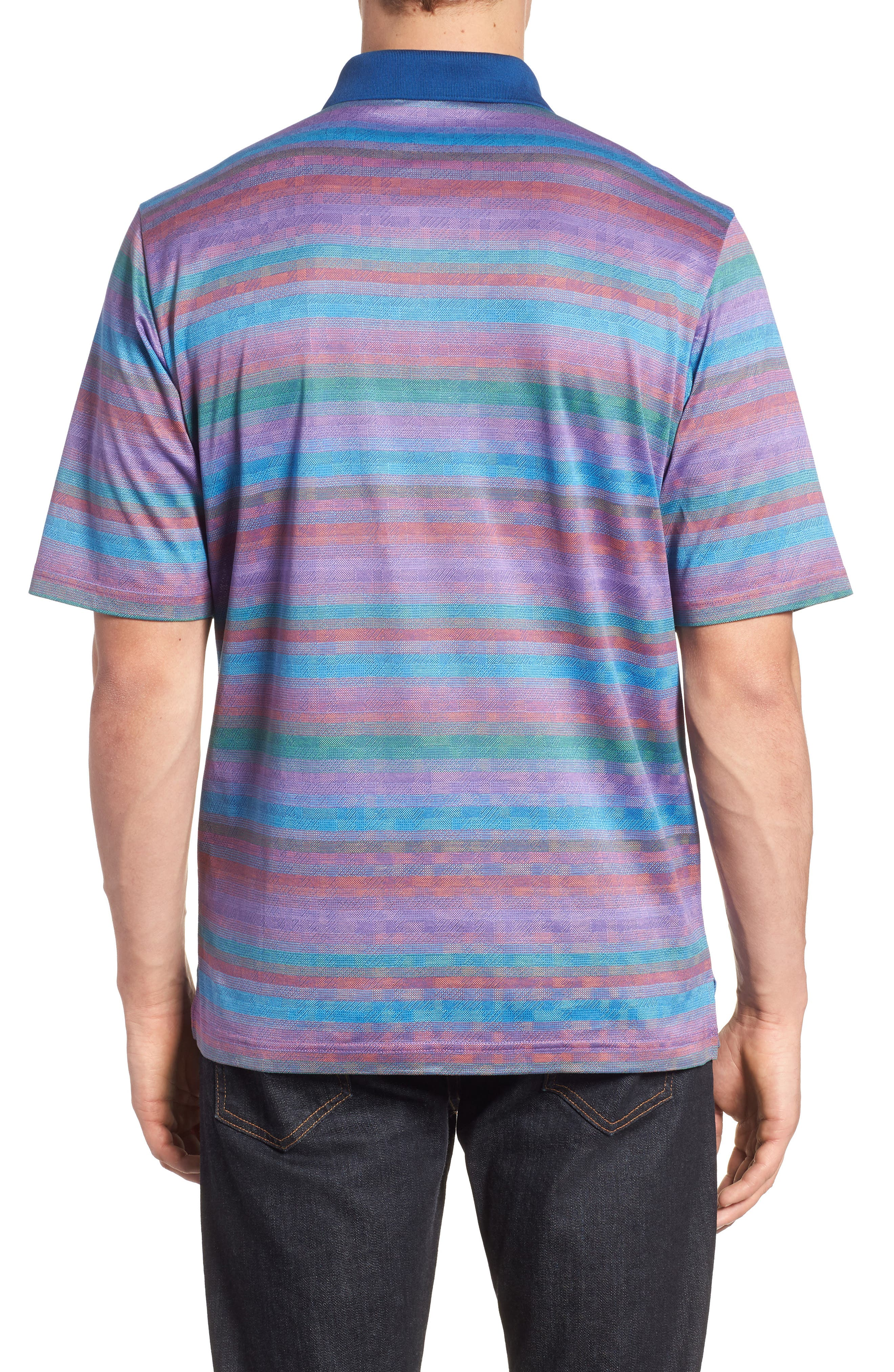 Stripe Mercerized Cotton Polo,                             Alternate thumbnail 2, color,                             ORCHID