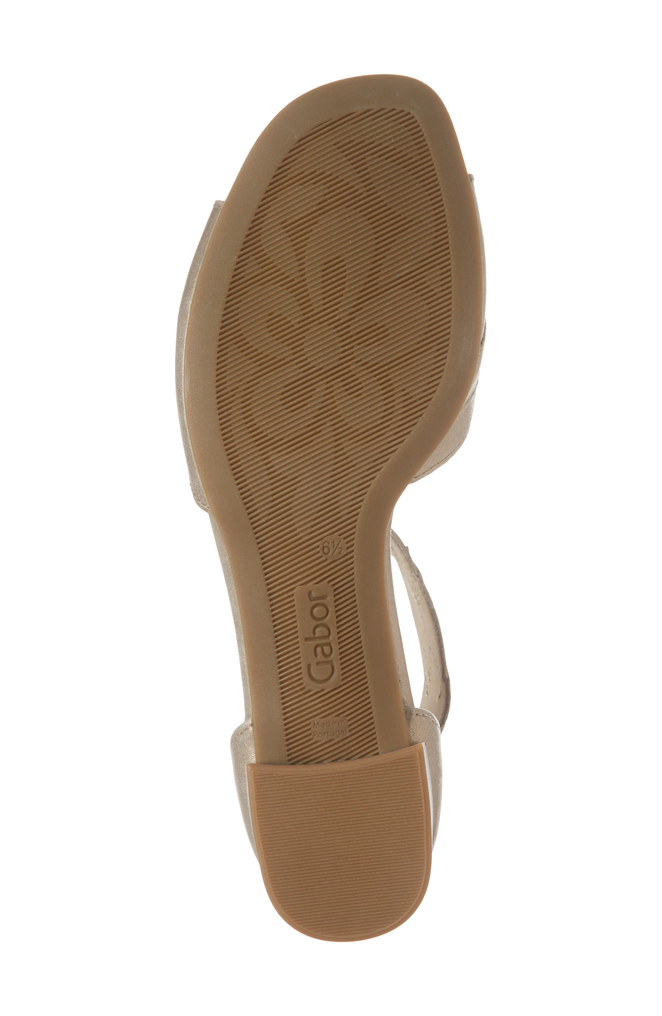 Leaf Ankle Strap Sandal,                             Alternate thumbnail 6, color,                             BEIGE METALLIC LEATHER