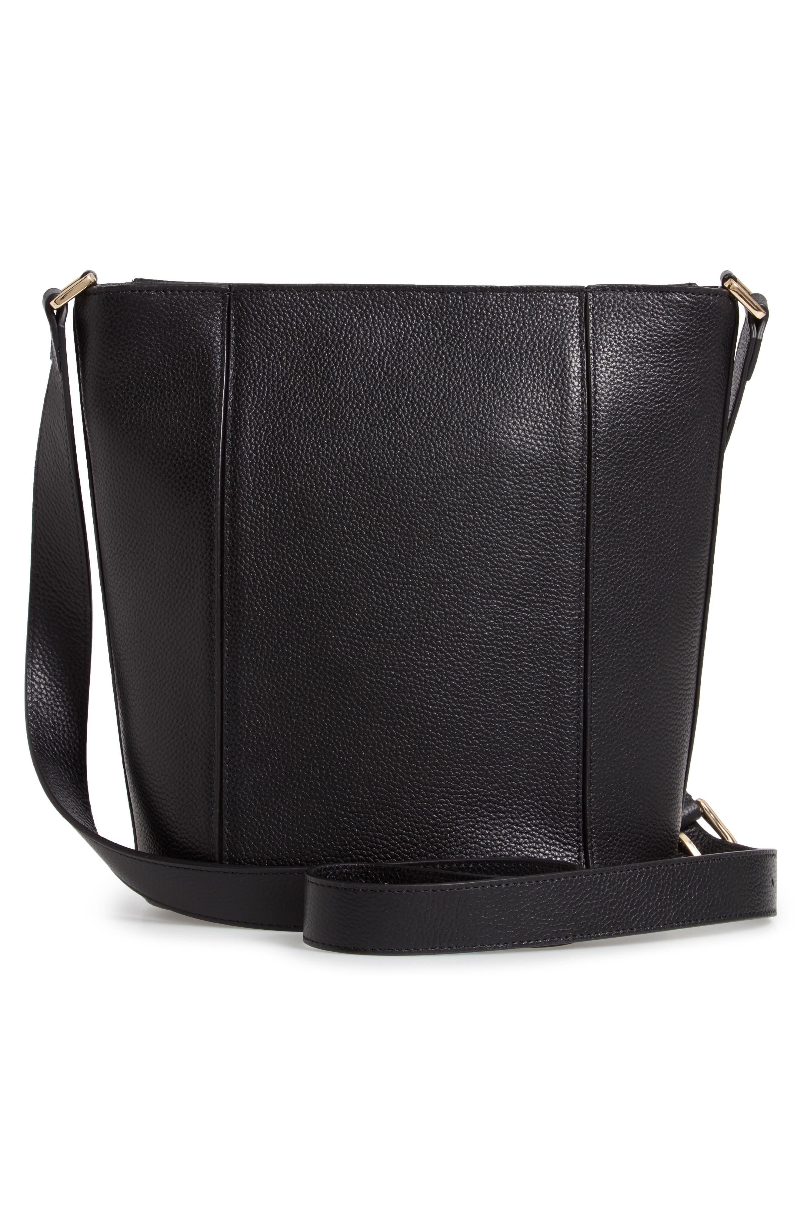 Loraine Leather Bucket Bag,                             Alternate thumbnail 3, color,                             BLACK