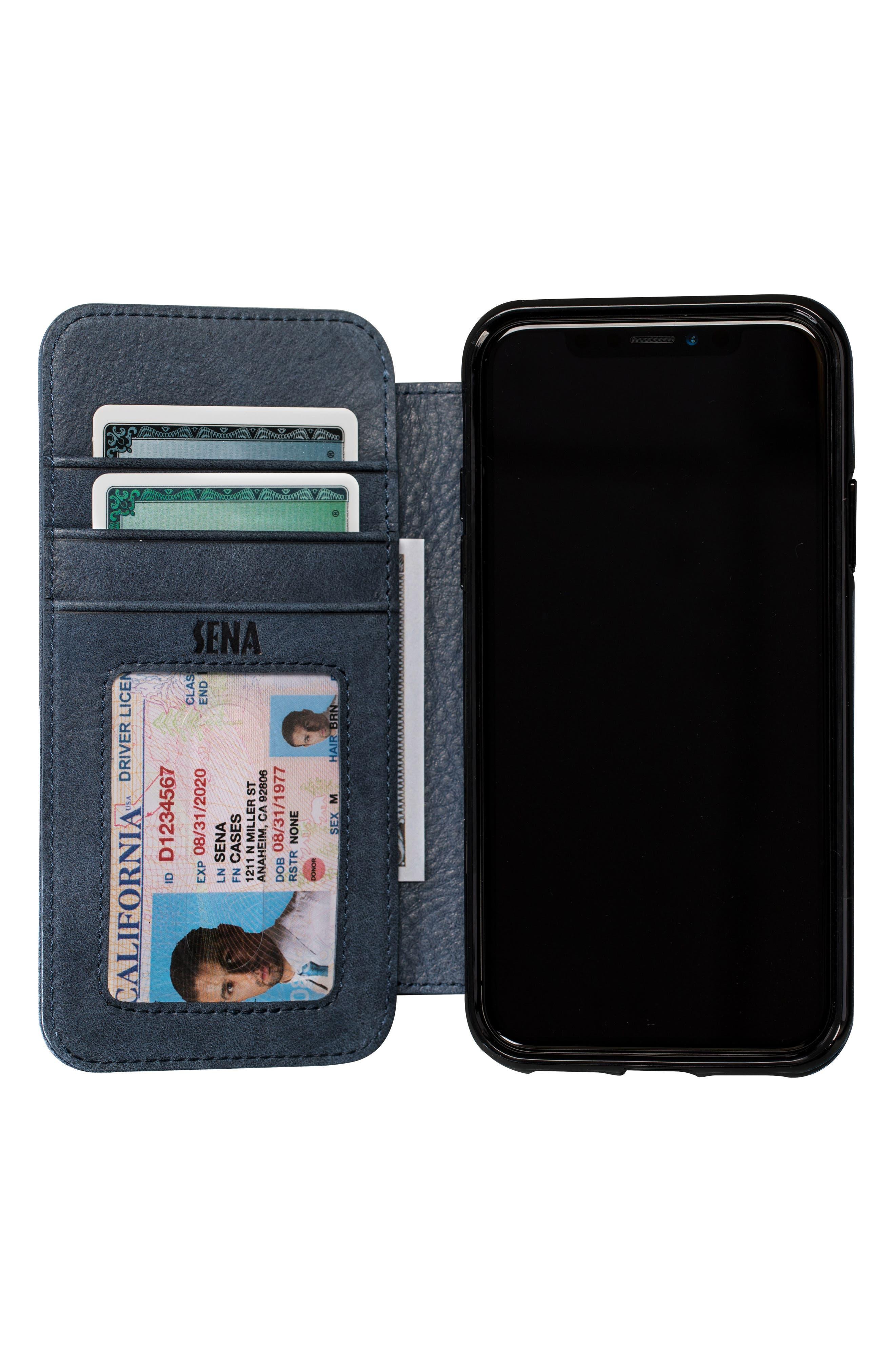 Bence iPhone X & Xs Walletbook,                             Alternate thumbnail 2, color,                             DENIM