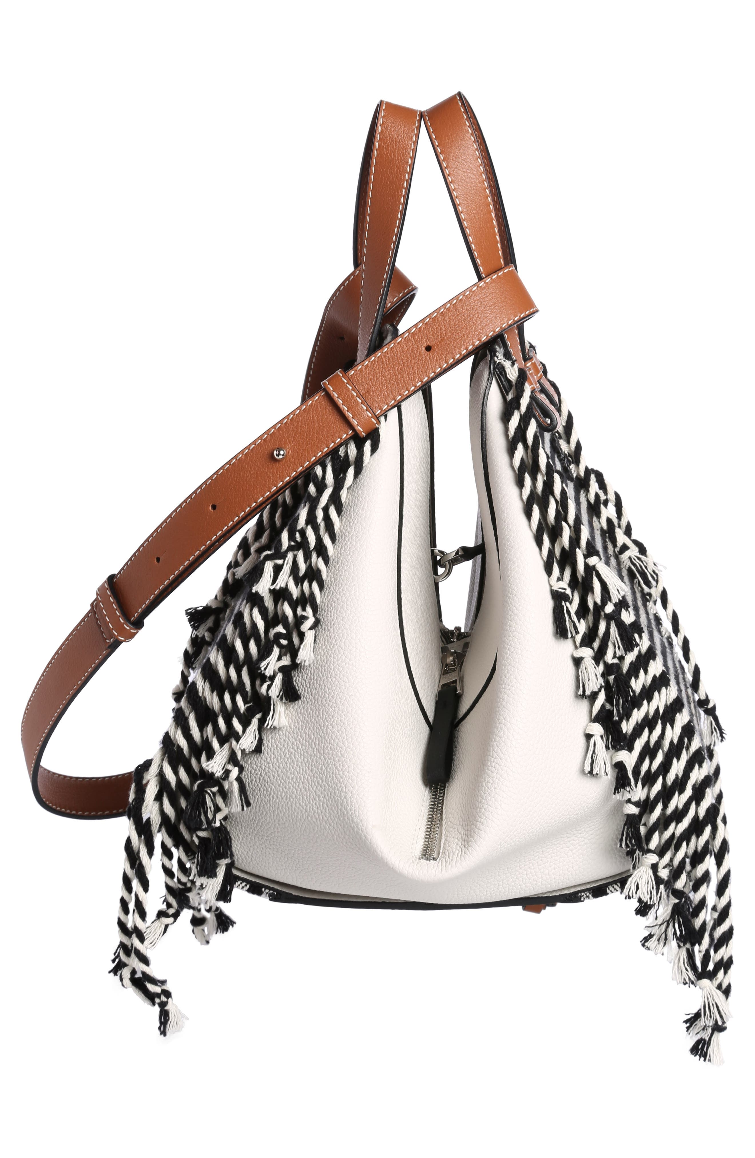 Small Hammock Scarf Crossbody Bag,                             Alternate thumbnail 3, color,                             SOFT WHITE/ TAN/ BLACK