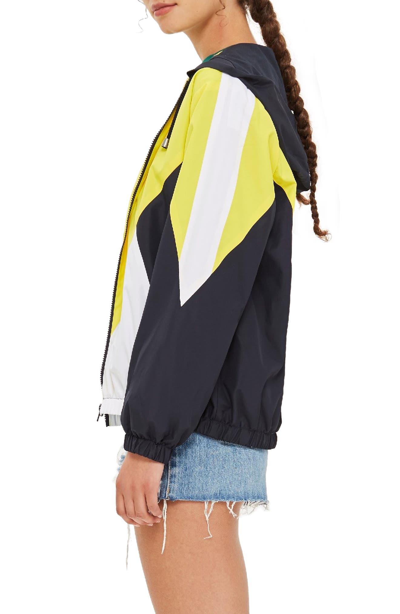 Texas Colorblock Windbreaker Jacket,                             Alternate thumbnail 3, color,                             YELLOW MULTI
