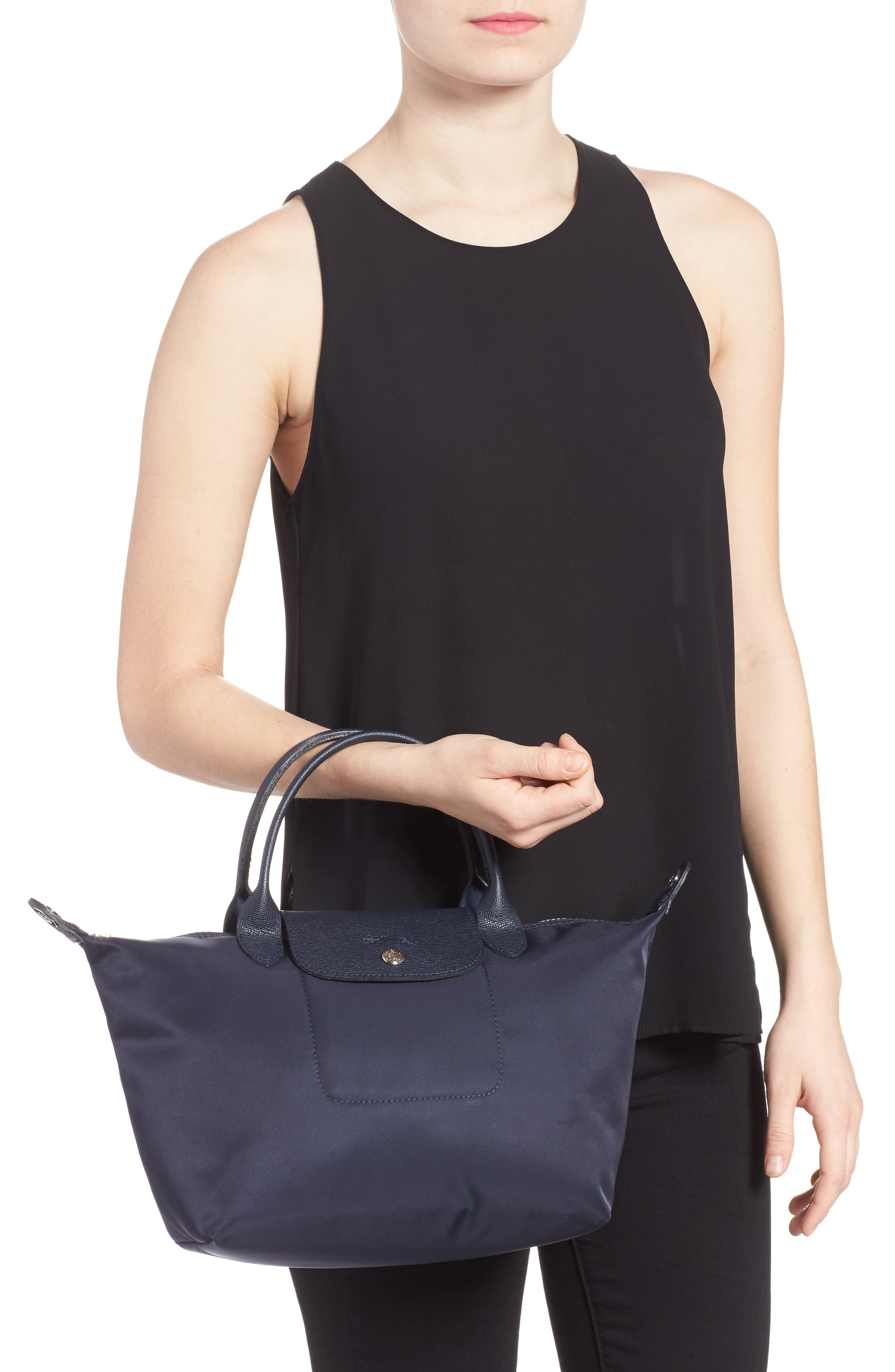 'Small Le Pliage Neo' Nylon Top Handle Tote,                             Alternate thumbnail 2, color,                             NEW NAVY