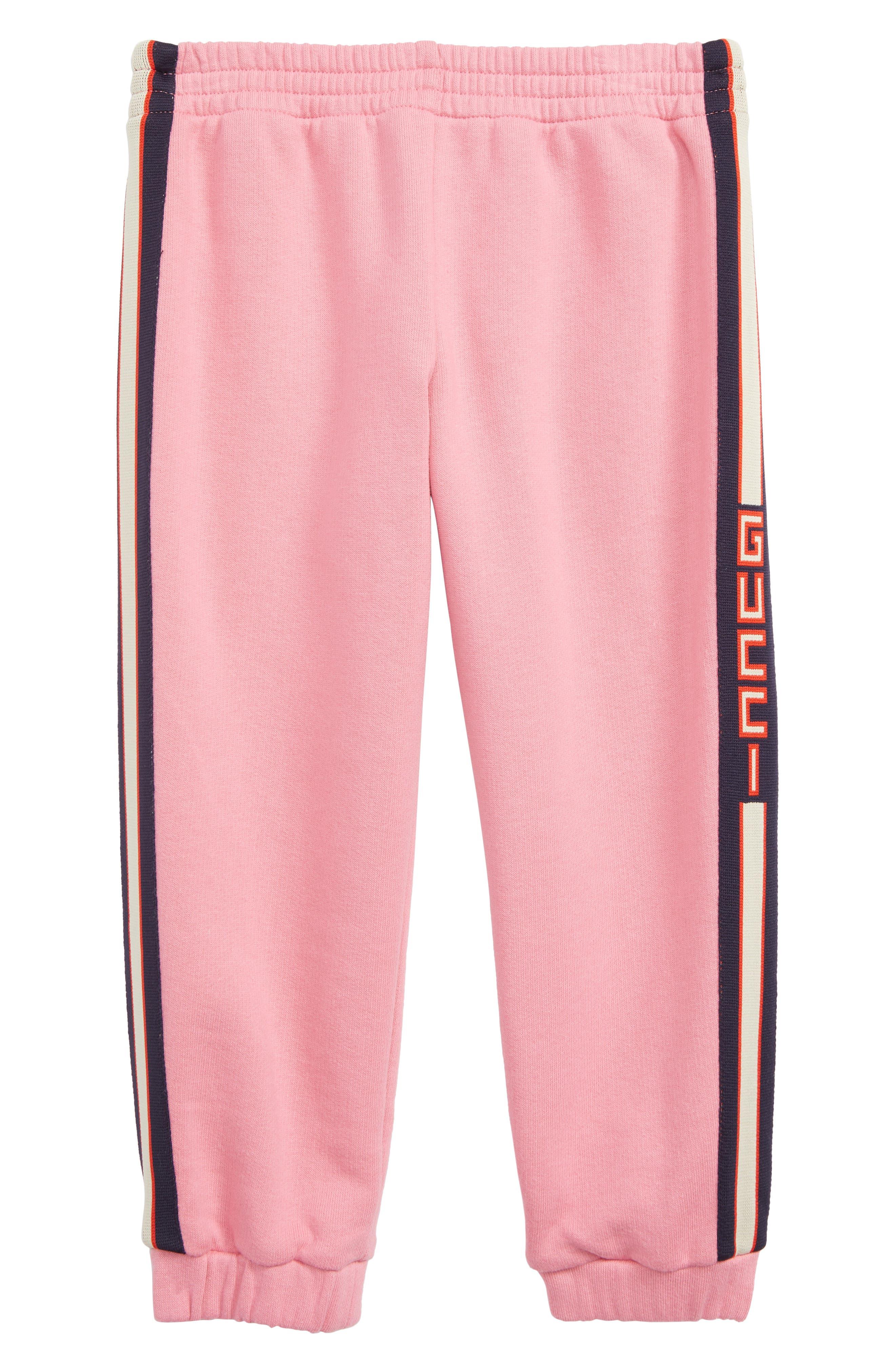 GUCCI,                             Stripe Jogger Sweatpants,                             Main thumbnail 1, color,                             PINK LADY/ BLUE/ RED