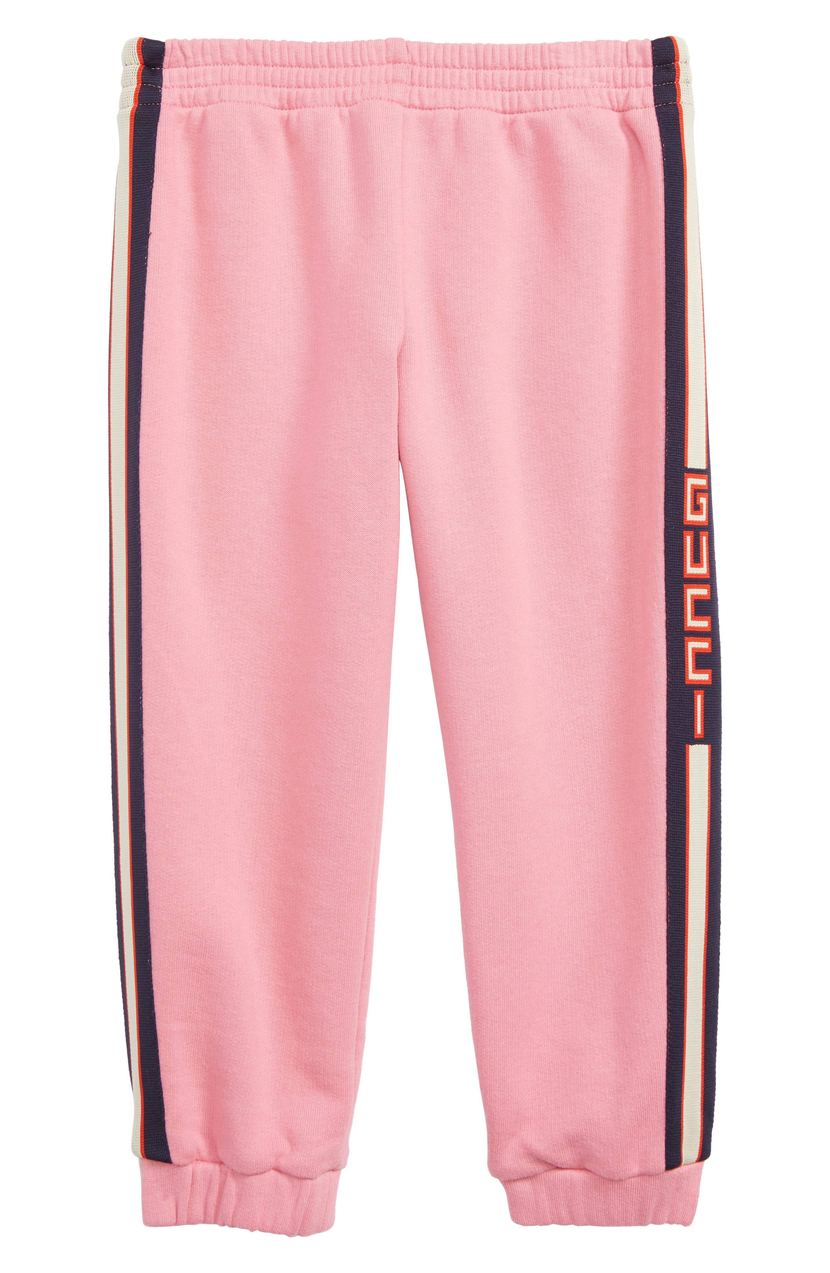 GUCCI Stripe Jogger Sweatpants, Main, color, PINK LADY/ BLUE/ RED