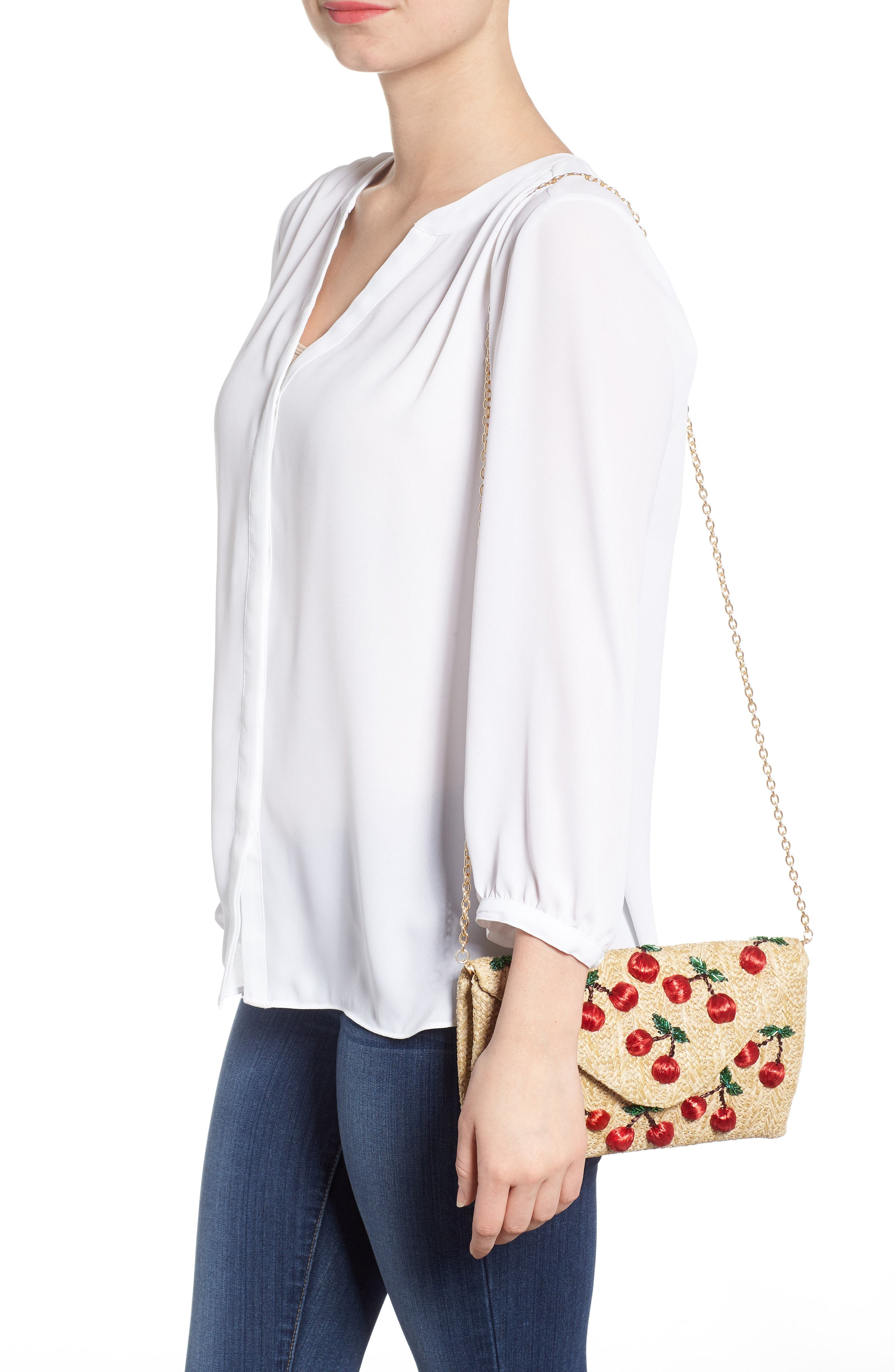 Cherry Embellished Straw Envelope Clutch,                             Alternate thumbnail 2, color,                             NATURAL