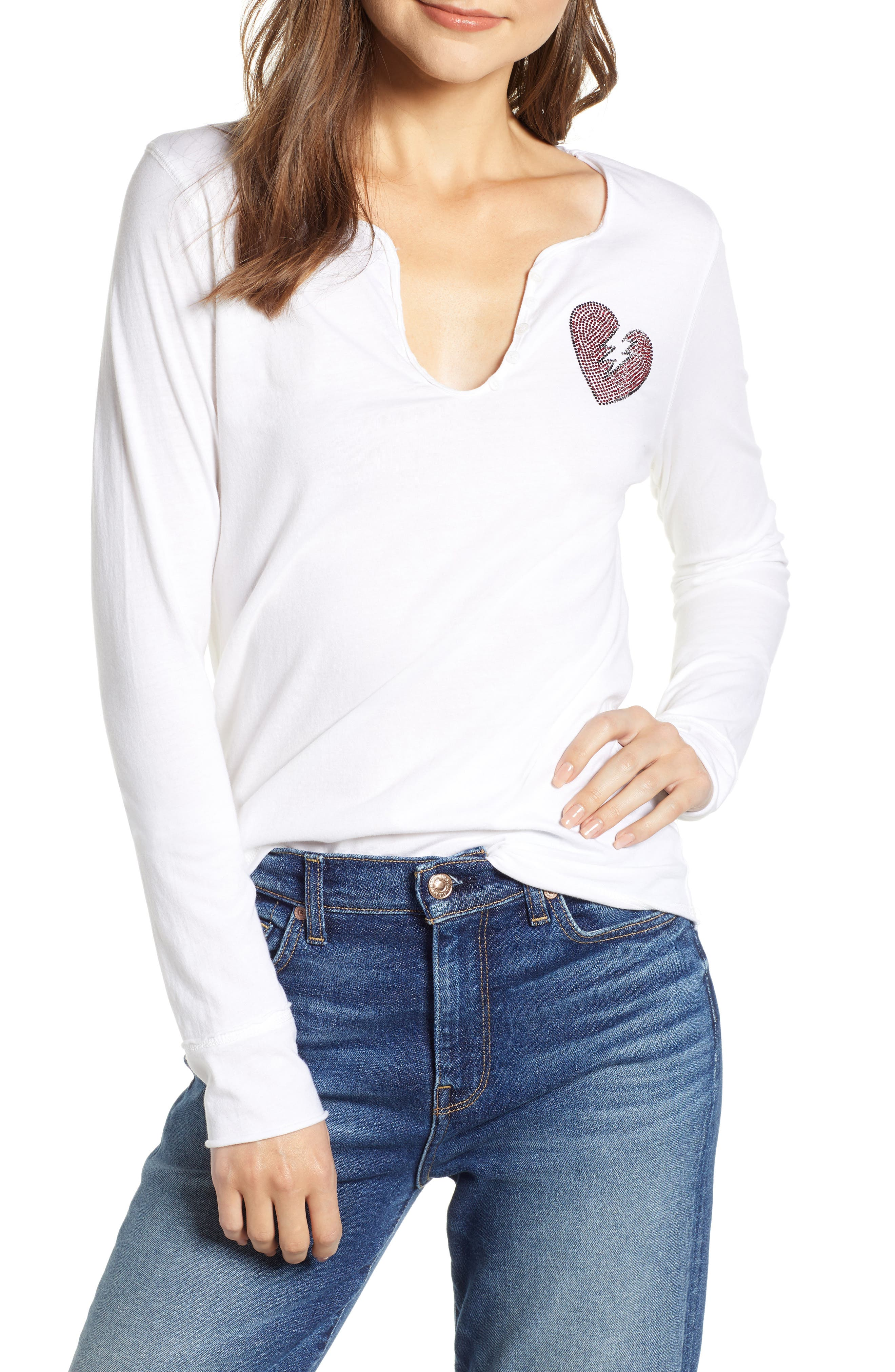 Crystal Heart Detail Split Neck Cotton Top,                             Main thumbnail 1, color,                             BLANC