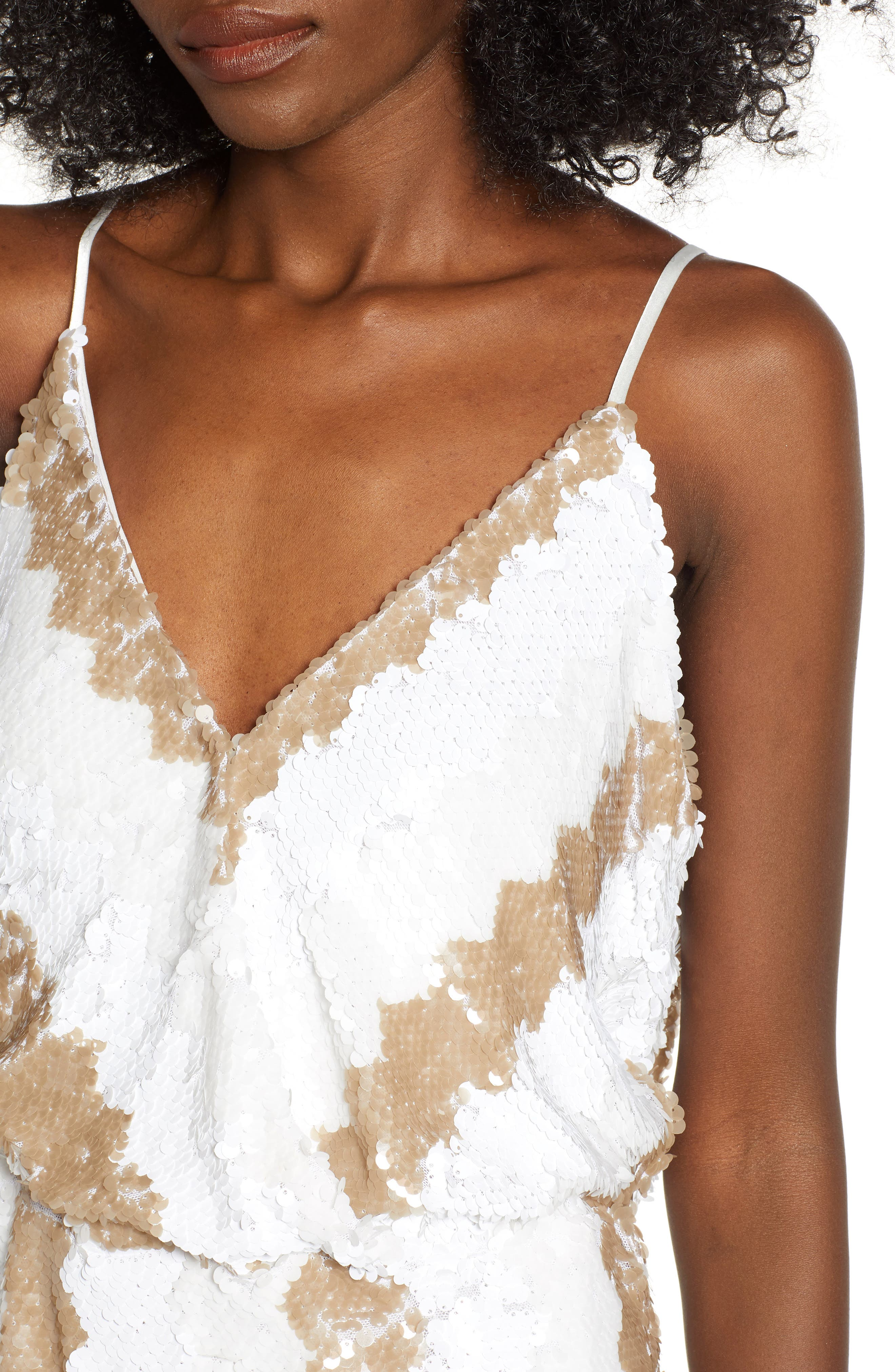 Sequin Minidress,                             Alternate thumbnail 4, color,                             WHITE