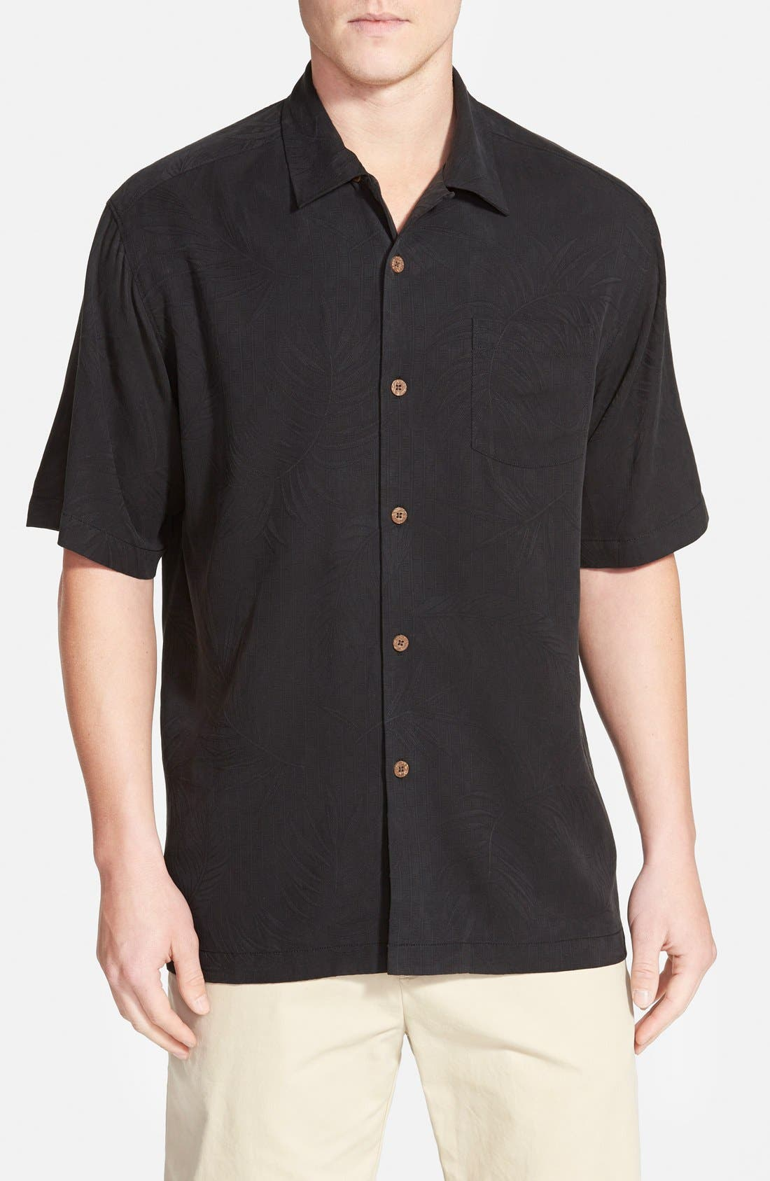 'Tiki Palms' Original Fit Jacquard Silk Camp Shirt,                         Main,                         color, 001