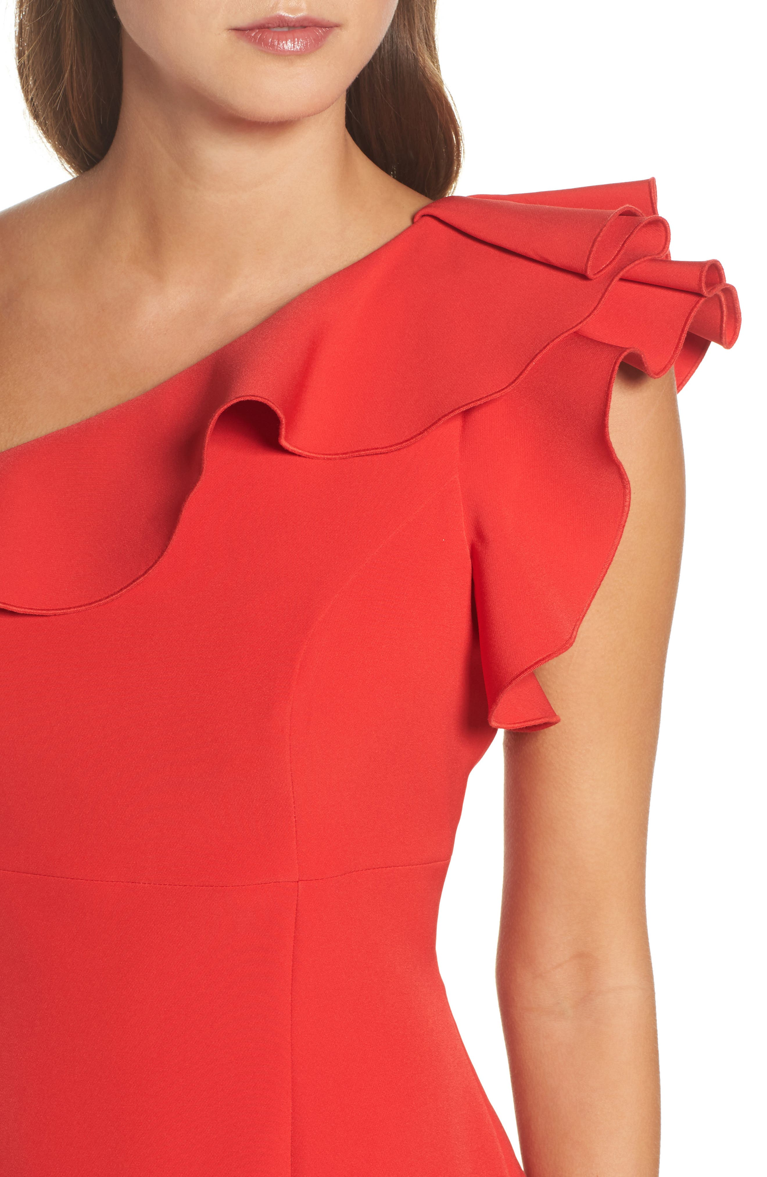 Ruffle One-Shoulder Dress,                             Alternate thumbnail 4, color,