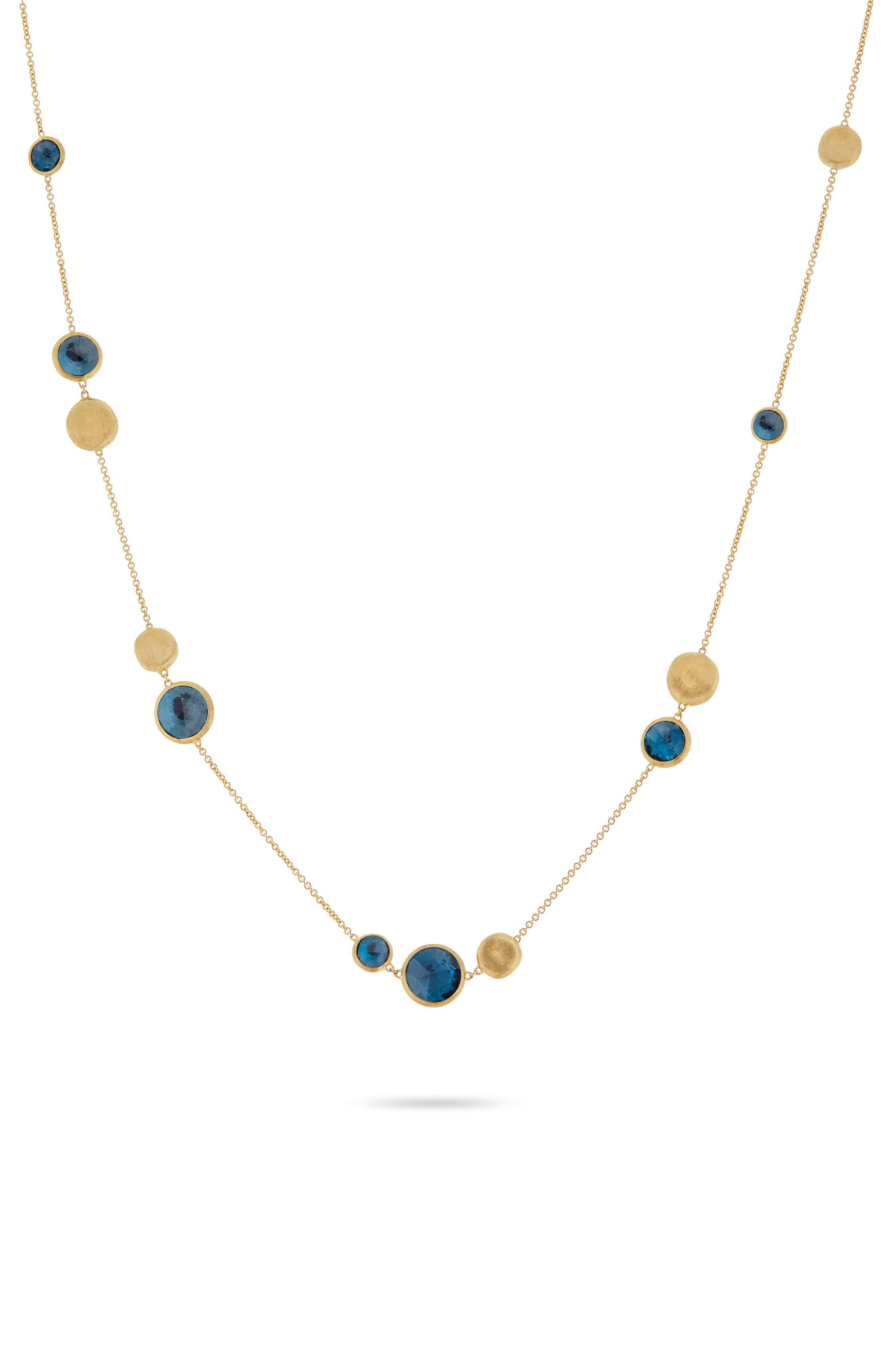 Marco Biecego Jaipur Semiprecious Stone Necklace,                             Main thumbnail 1, color,                             YELLOW GOLD/ BLUE TOPAZ