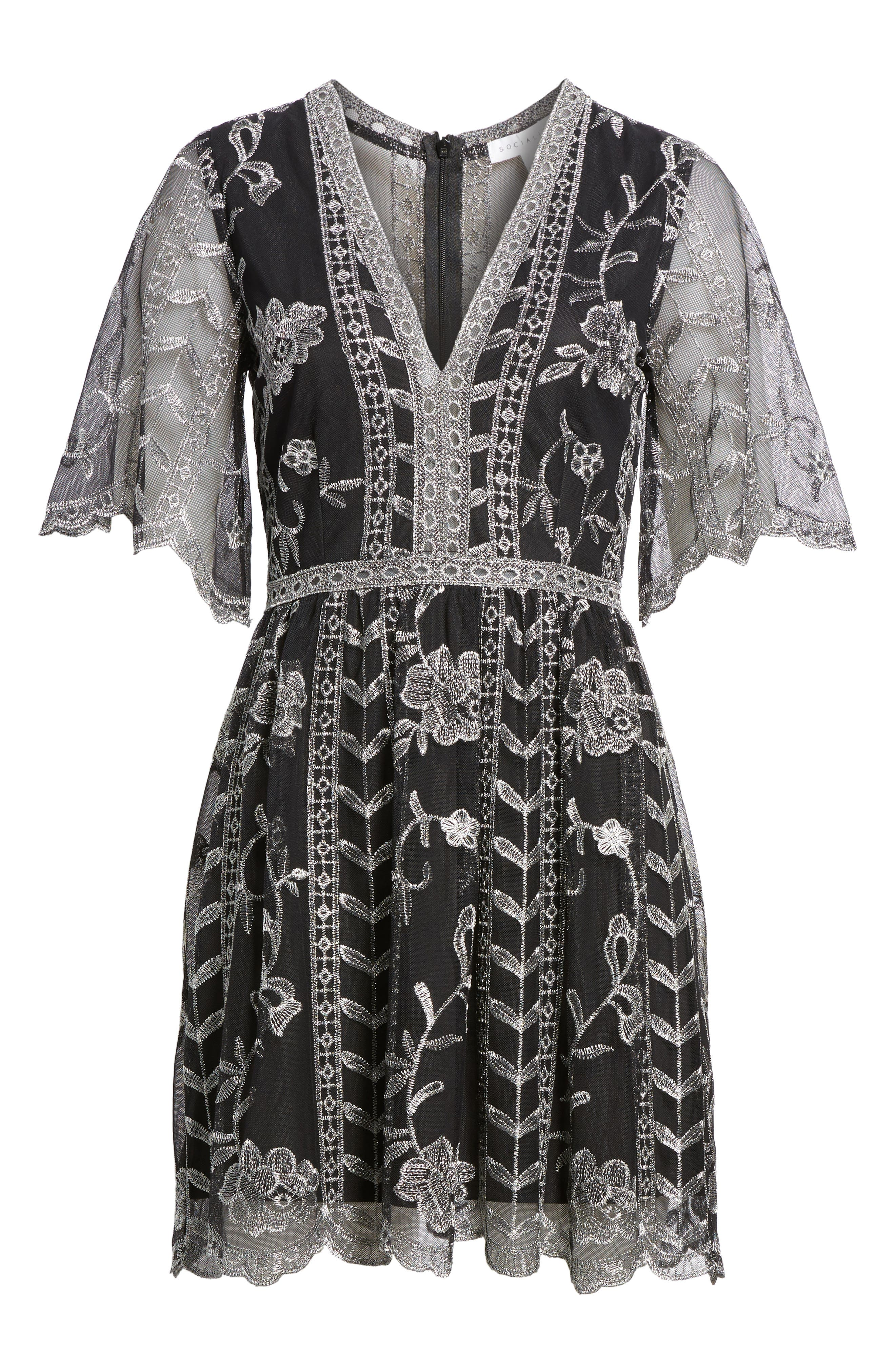 Plunging Lace Dress,                             Alternate thumbnail 6, color,